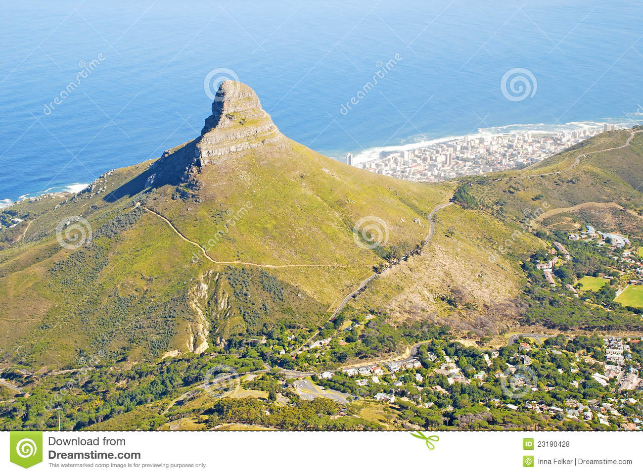 Lions Head Mountain And Cape Town South Africa Royalty