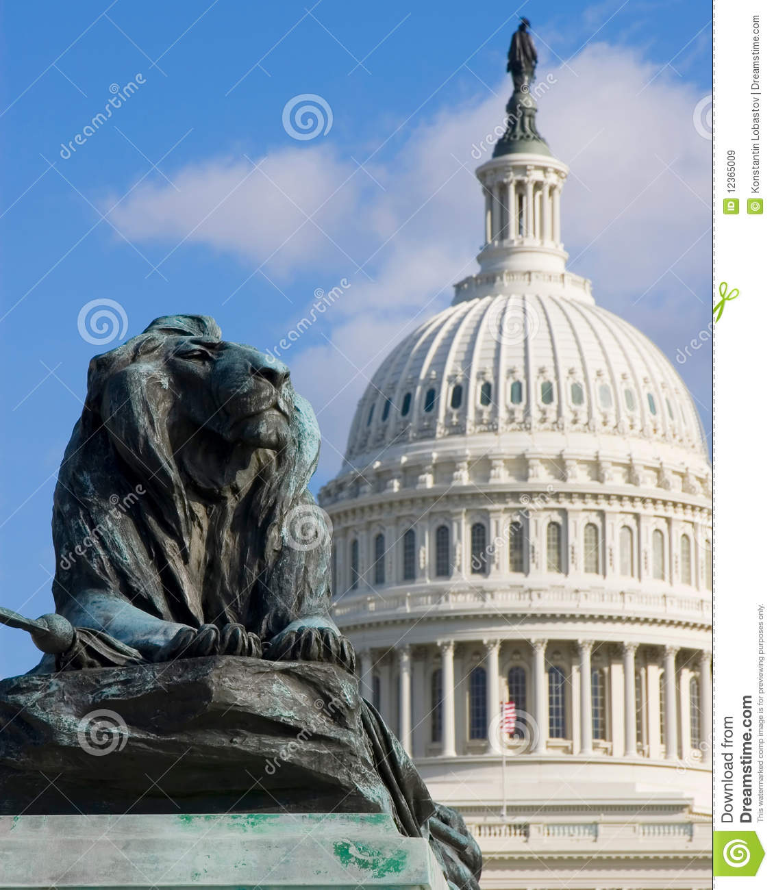 The lion sculpture with us capitol background stock image