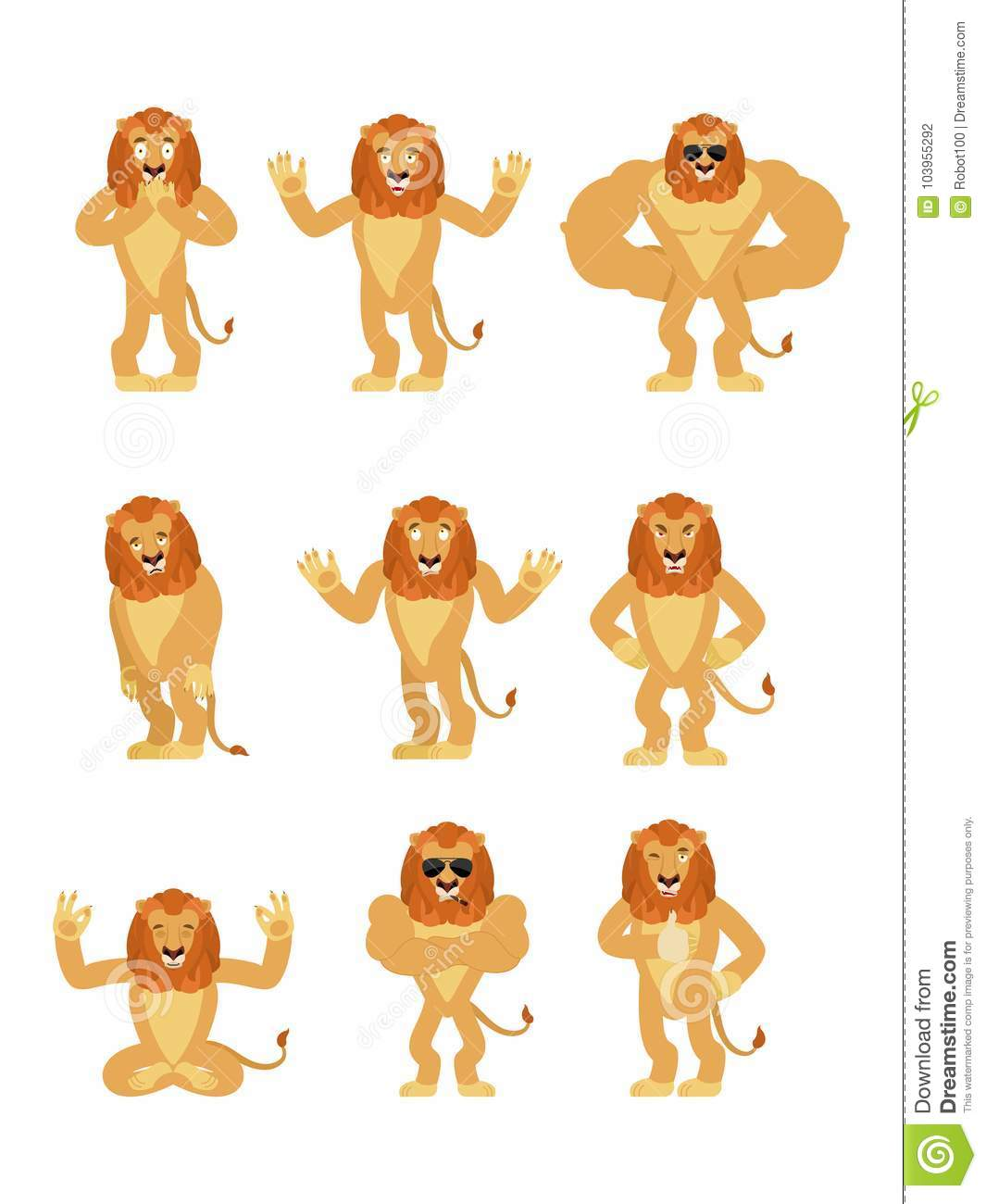 Lion Set Poses And Motion. Wild Animal Happy And Yoga. Stock Vector ... 0036c70d70e3