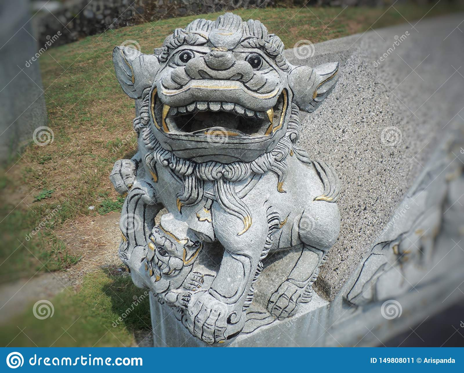 Lion-shaped stone statue of fire