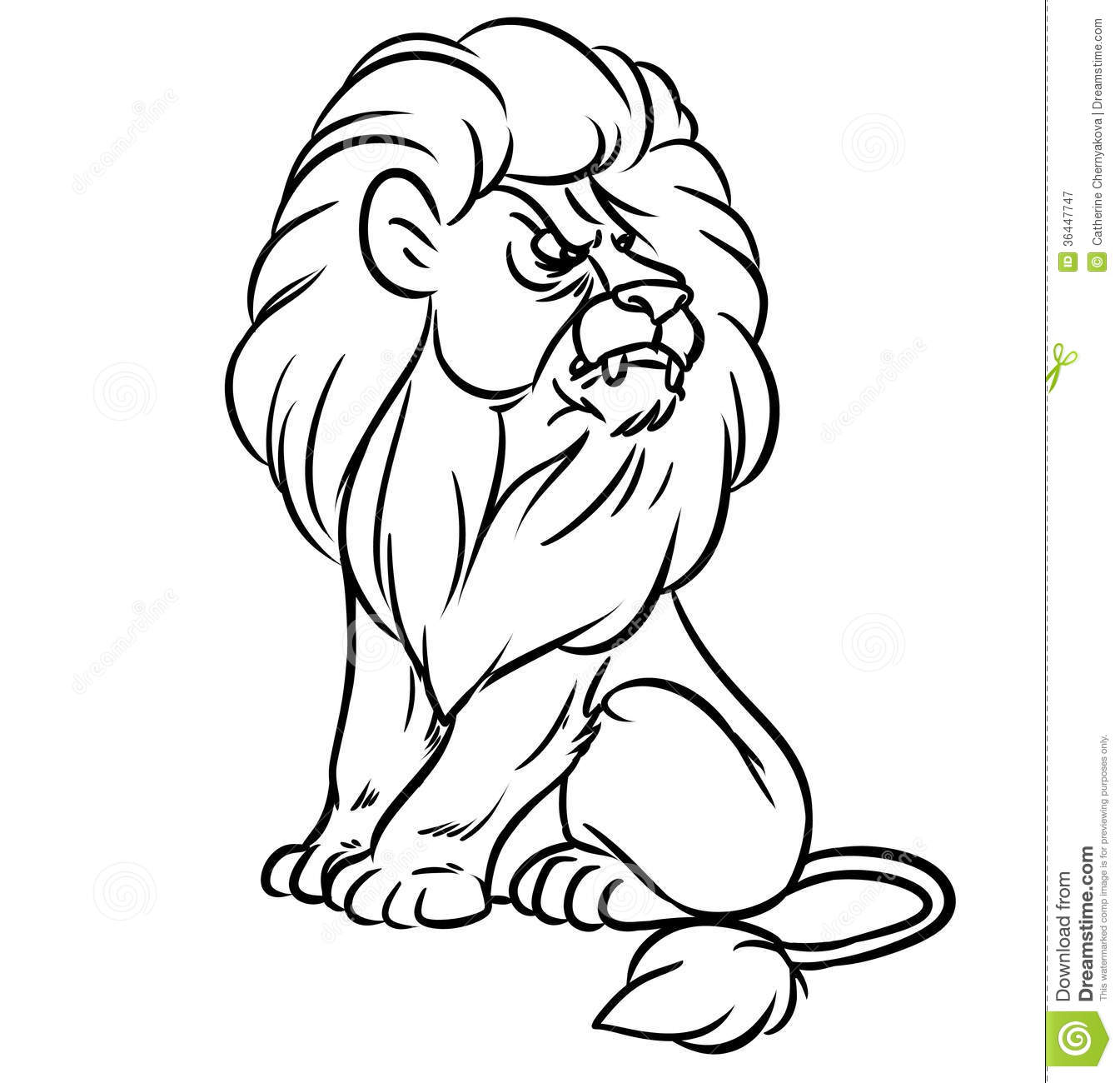 Lion Sitting Line Stock Illustration Illustration Of Line