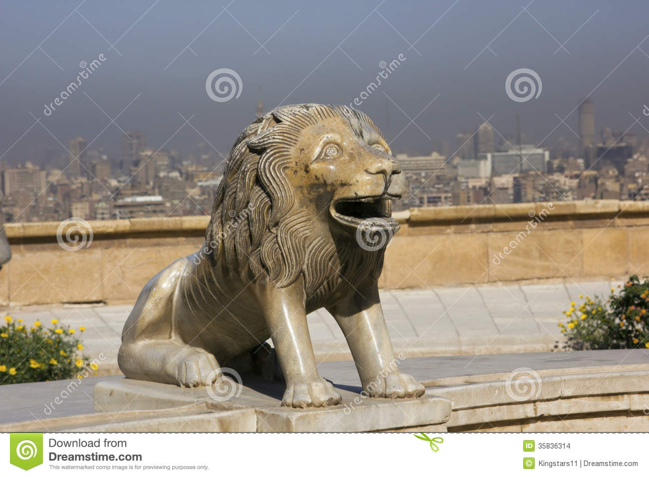 lion statue in cairo egypt stock images