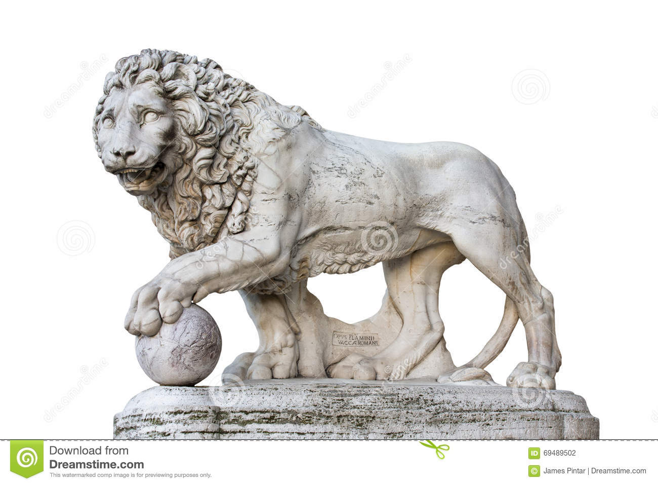 Lion Statue i Florence Italy Isolated på vit