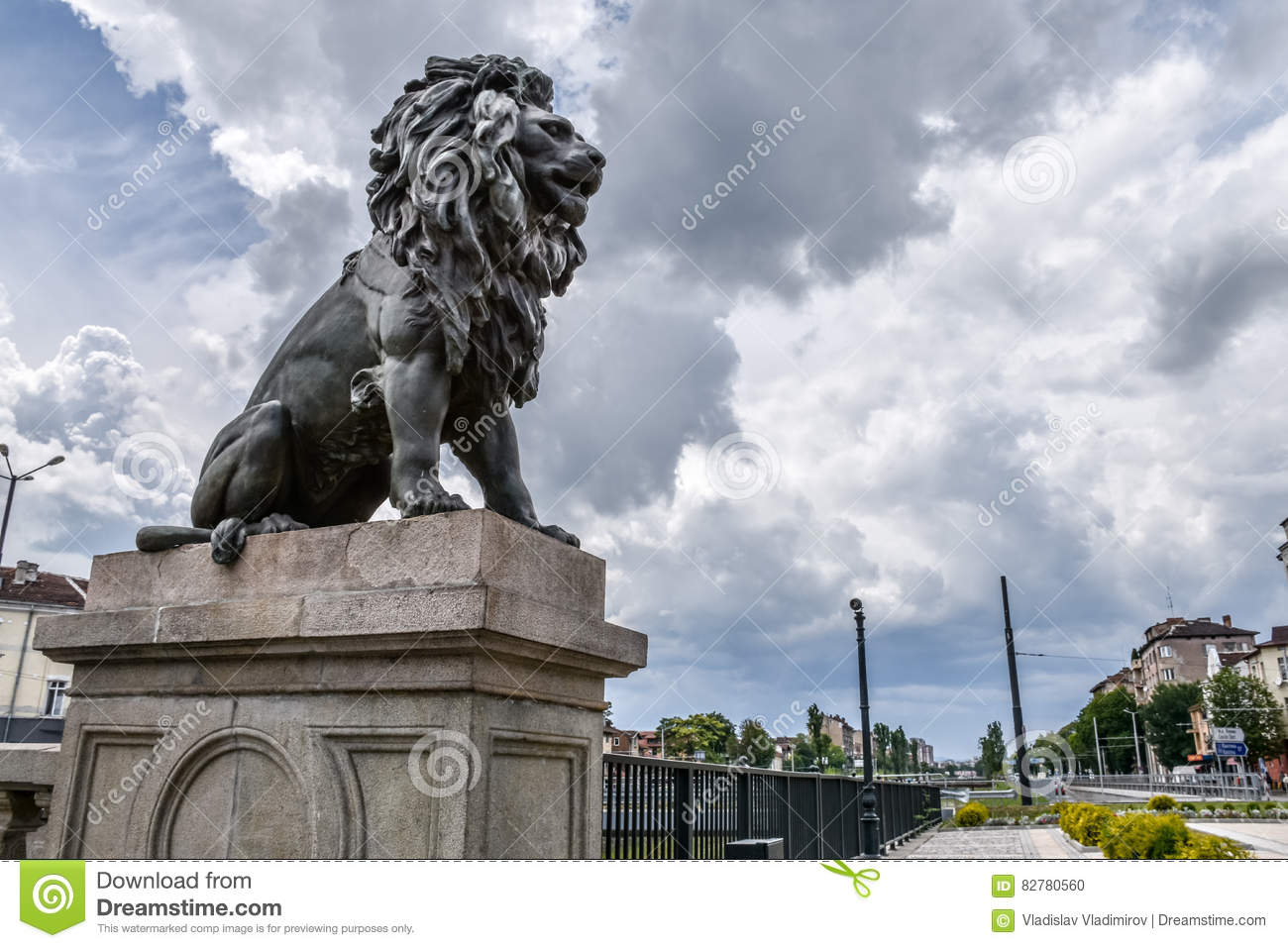Lion statue at Lion`s Bridge in Sofia, Bulgaria