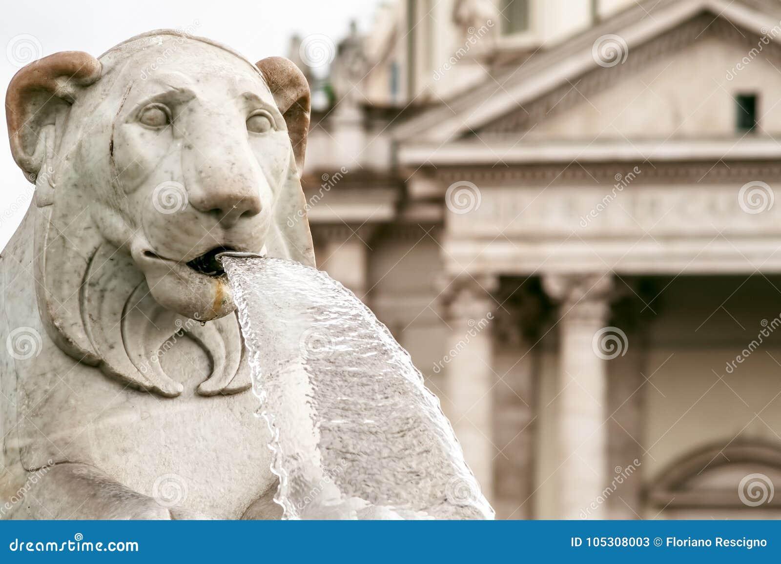 Lion statues of fountain in Piazza del Popolo, Rome