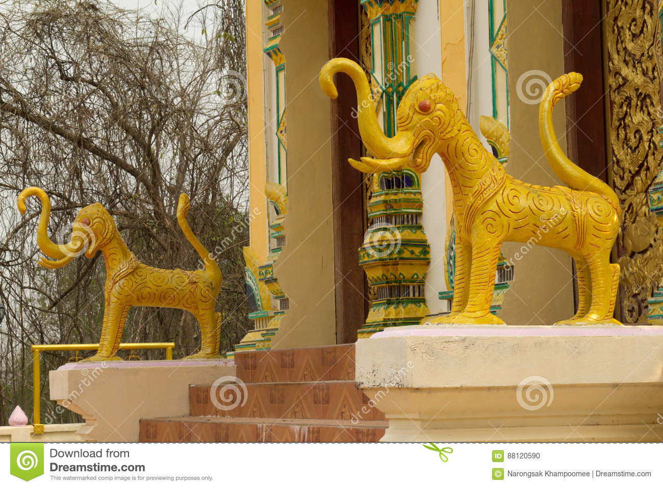The Lion statues at Temple,Thailand