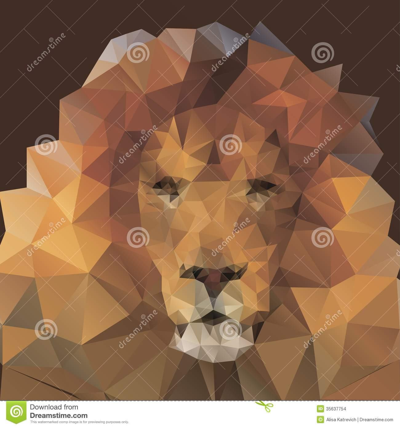 Lion In The Style Of Origami Stock Images