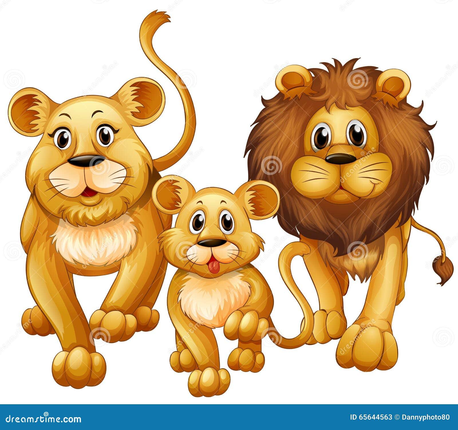 Lion sur la famille avec l petit animal mignon