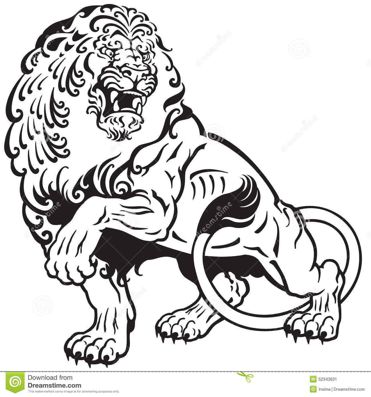 3531728e5 Lion tattoo stock vector. Illustration of aggressive - 52343631