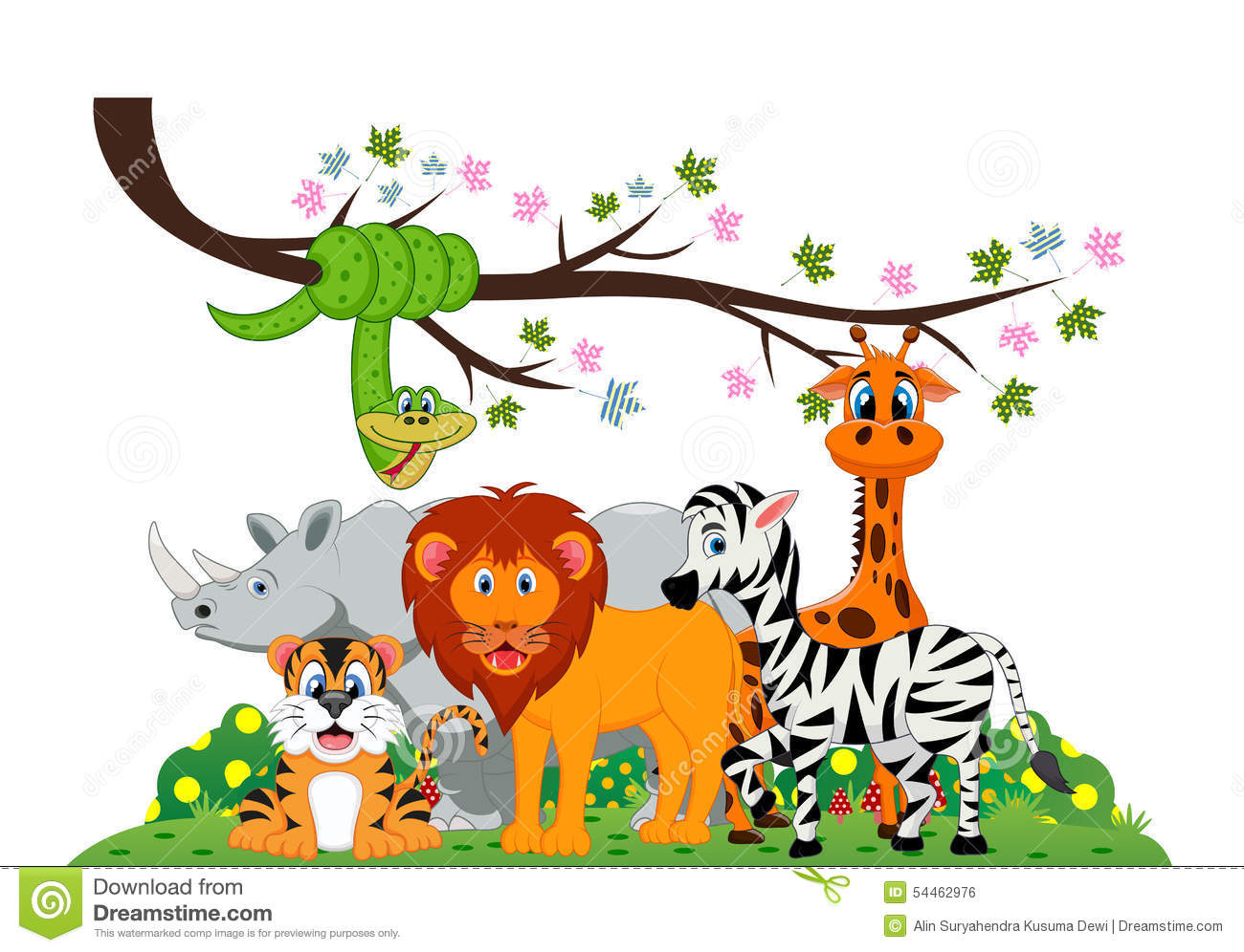 Lion, Tiger, Zebra, Rhino, Snake And Giraffe Were Playing Under A Tree ...