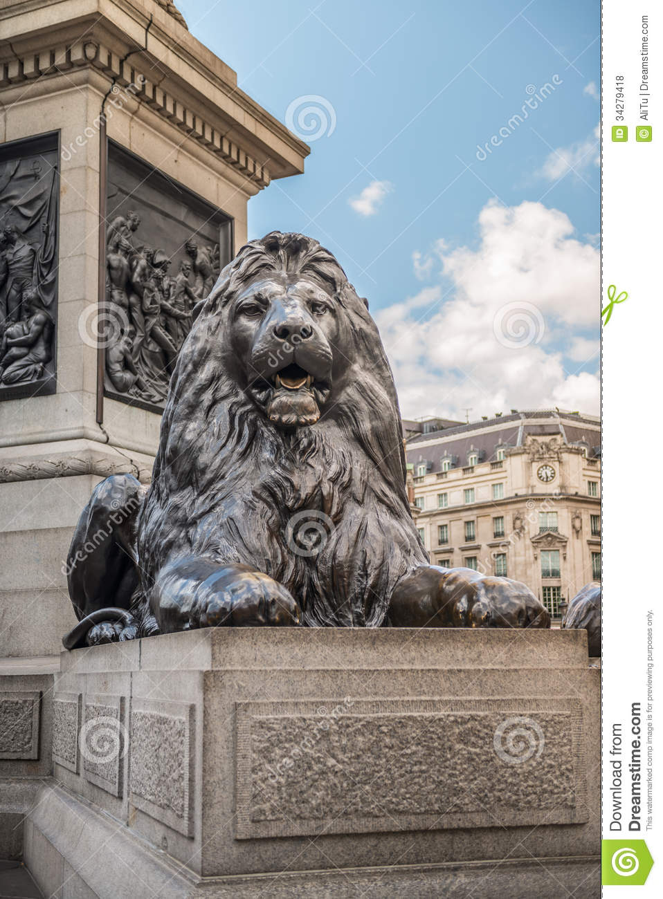 lion from trafalgar square  london royalty free stock