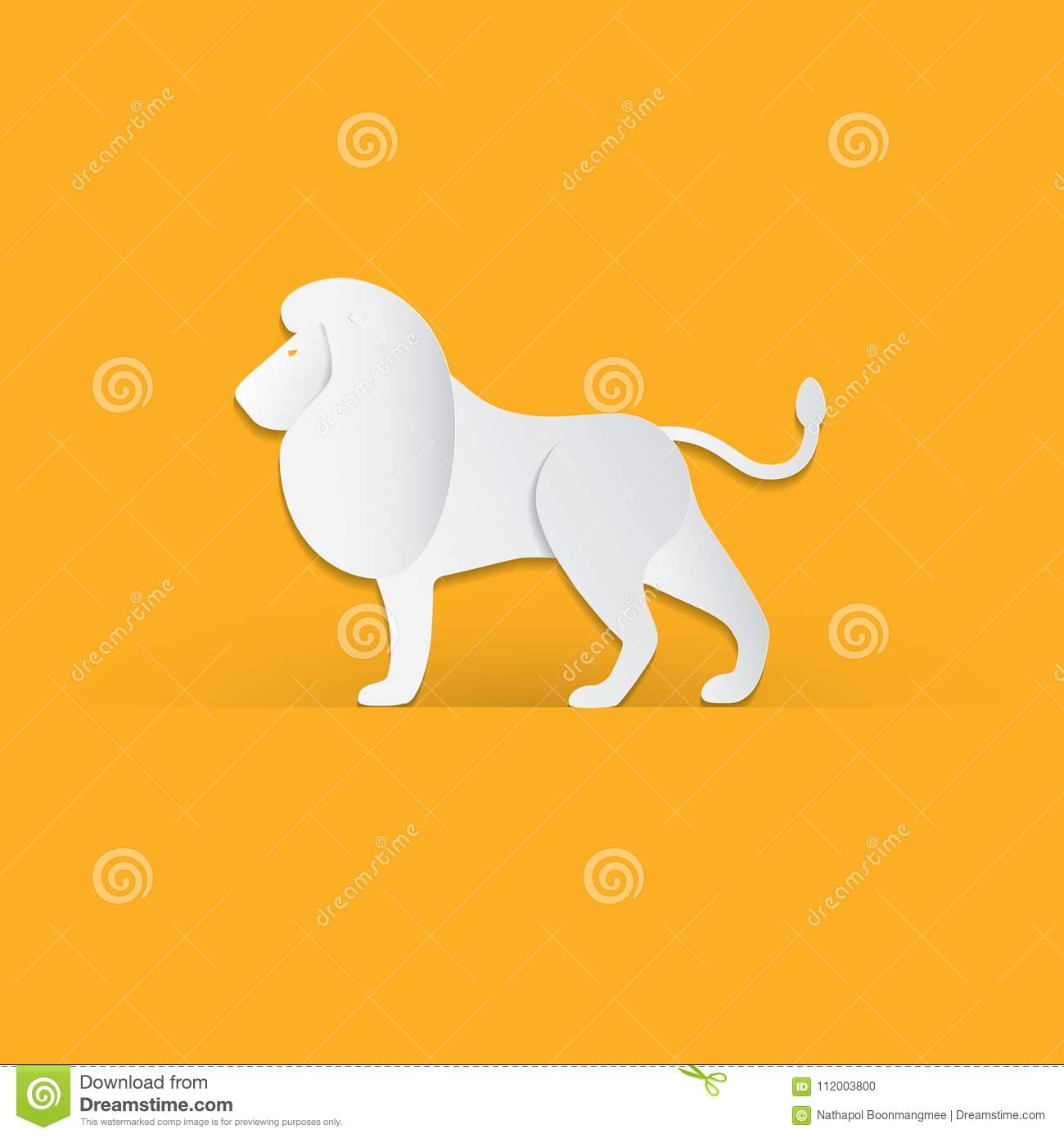 Lion in trendy paper cut craft graphic style. Modern design for advertising, branding greeting card, cover, poster, banner. Vecto