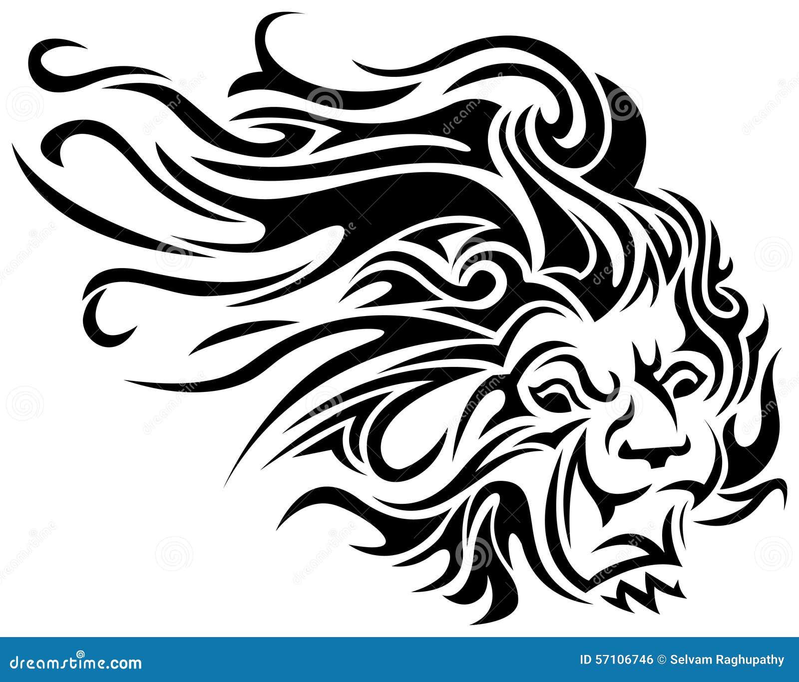 Tribal Tattoo Line Drawing : Lion tribal tattoo stock vector image