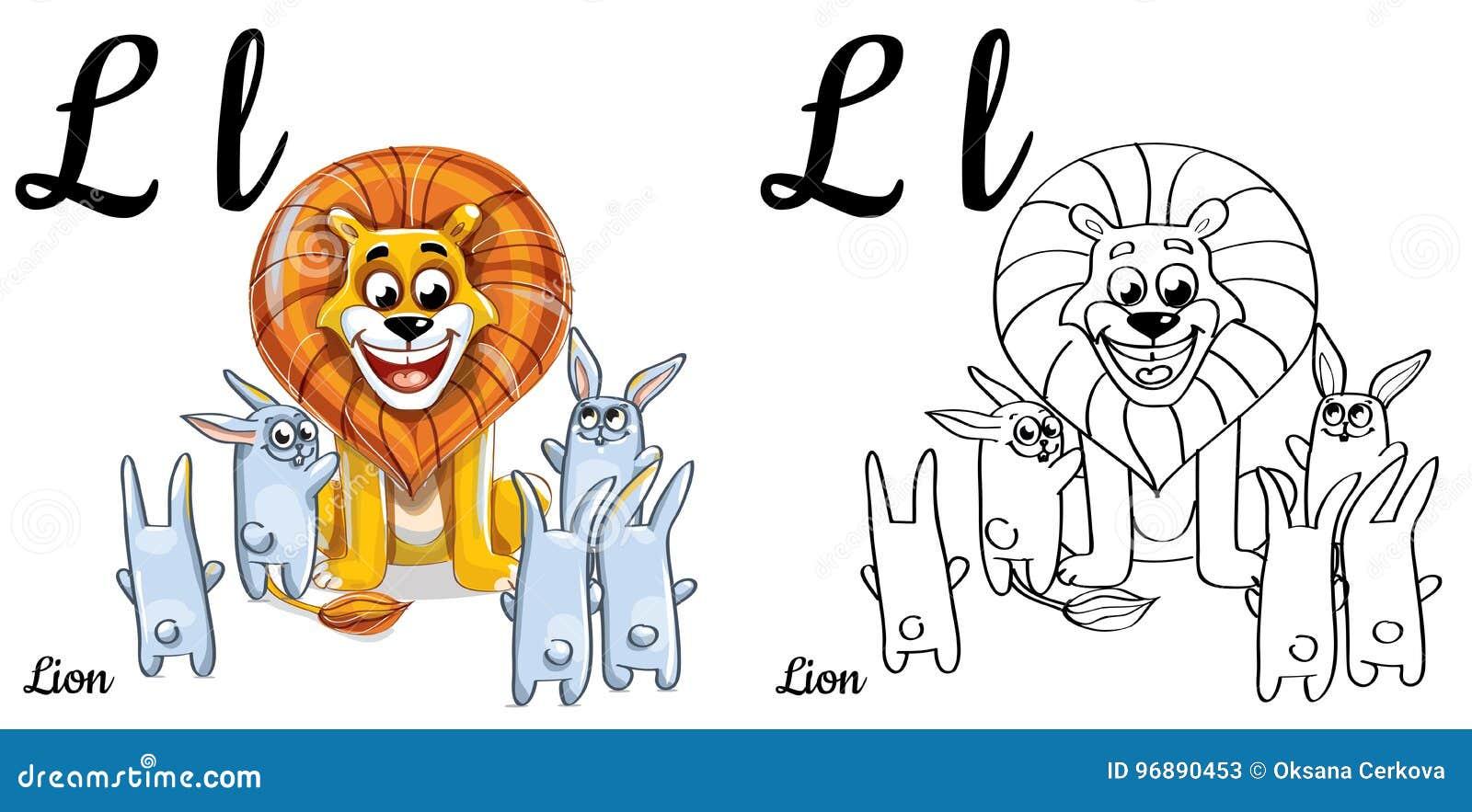 Lion. Vector Alphabet Letter L, Coloring Page Stock Illustration ...