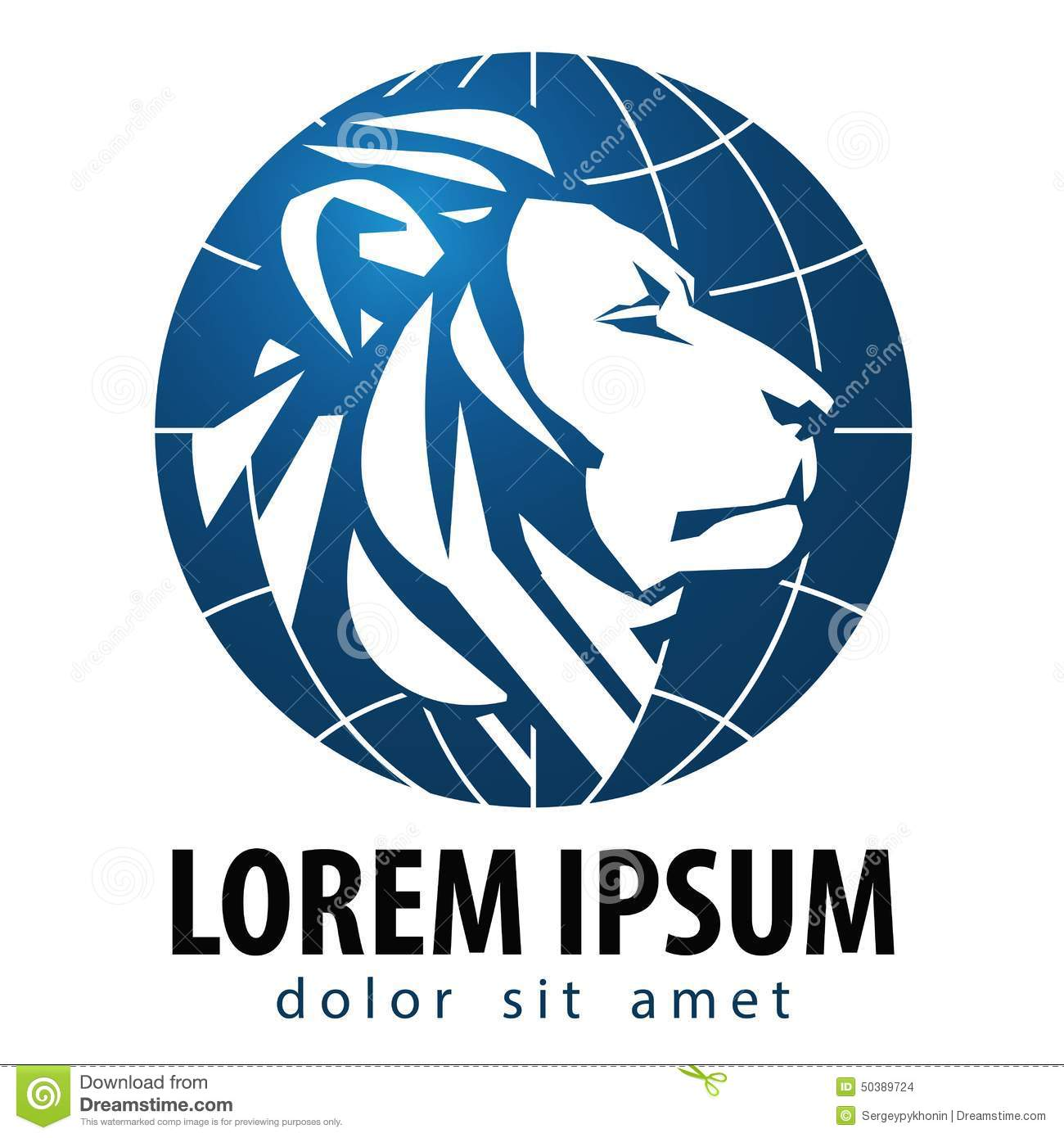 White lion with blue background logo - photo#20