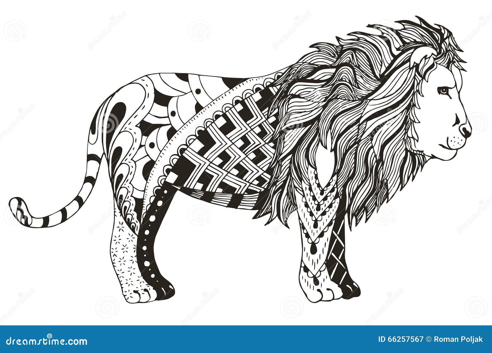 Lion zentangle stylized vector illustration freehand - Muster malen ...