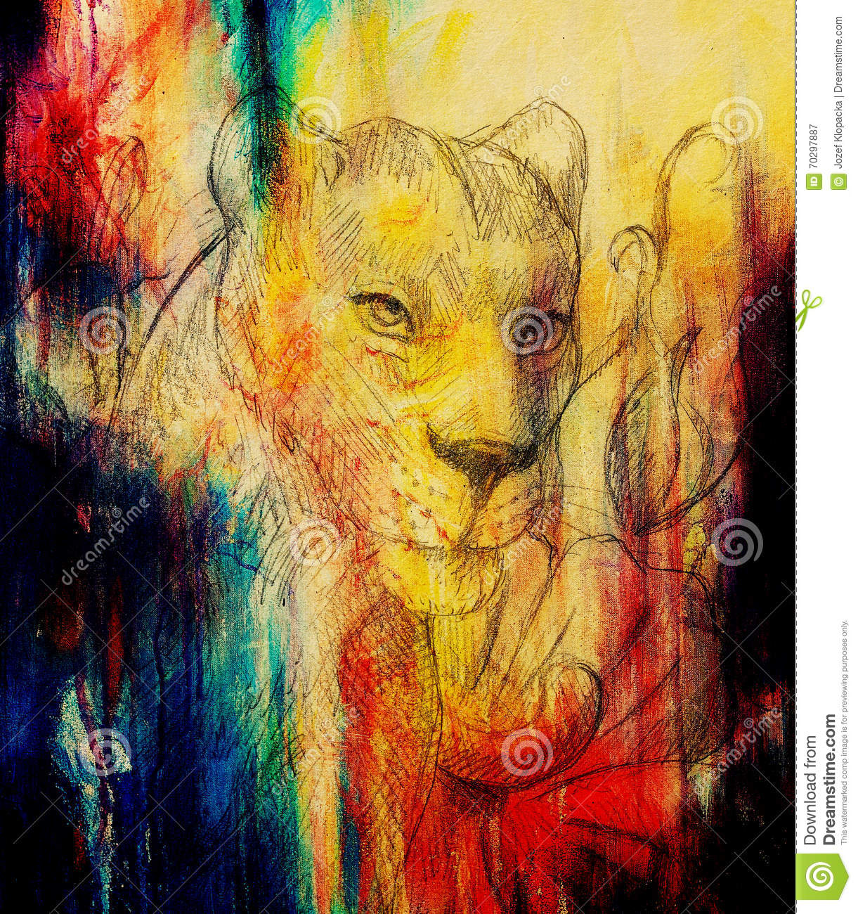 Drawingcolor Lioness With Flower Pencil Drawing Color Effect And Computer
