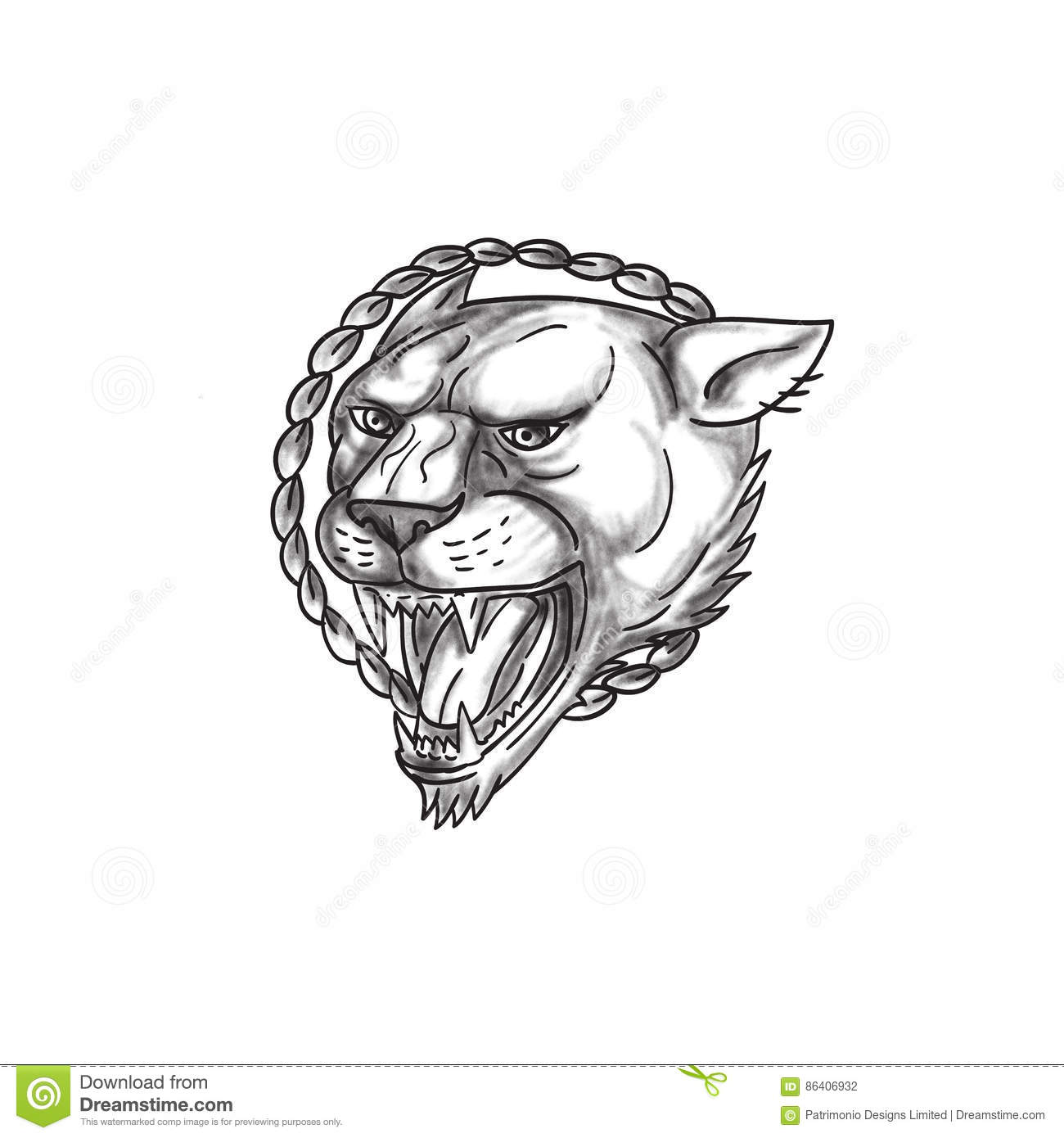 Lioness Growling Rope Circle Tattoo Stock Illustration