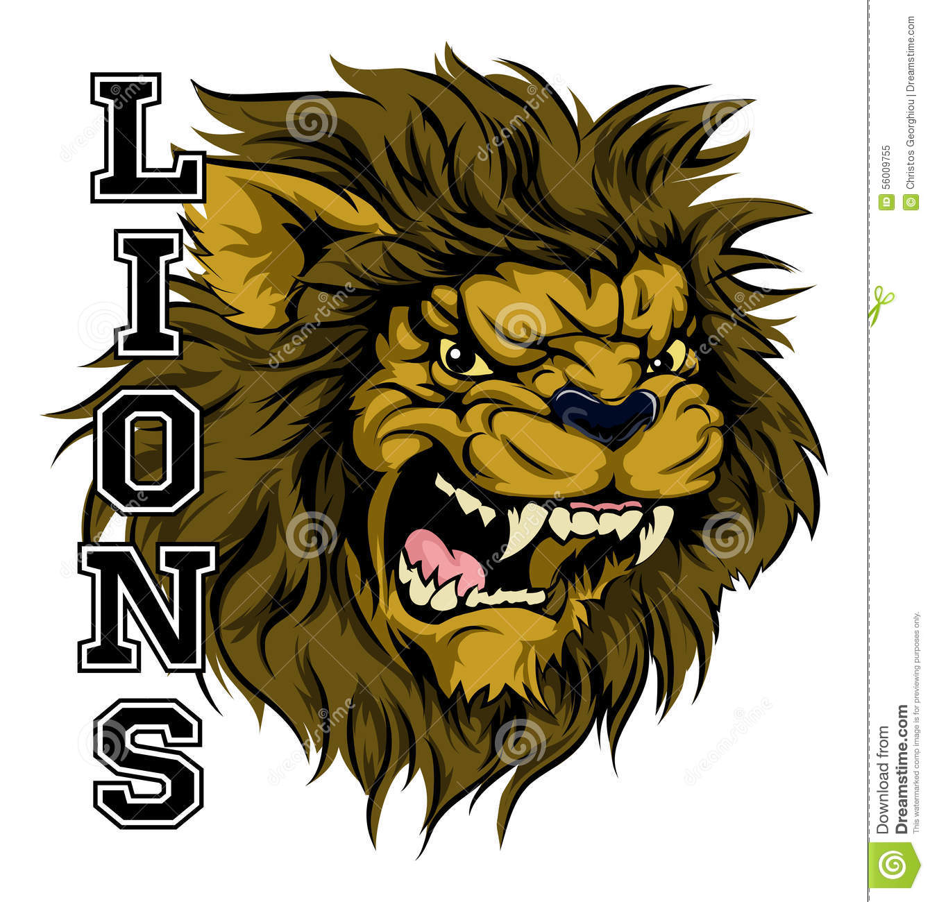 Lions Sports Mascot stock vector  Illustration of mean