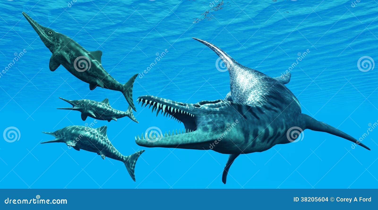 Liopleurodon Attacks Ichthyosaurus Stock Images Image