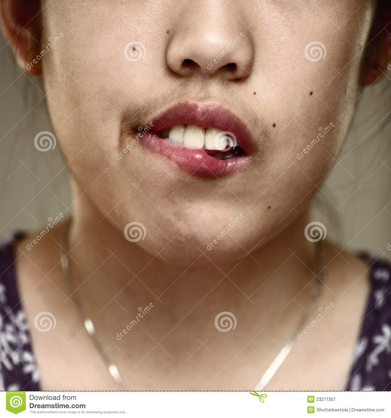 Lip Biting Stock Image Image Of Frustrated Agony