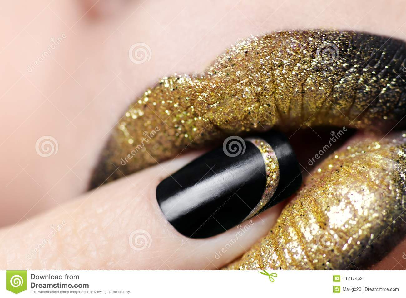 Lip makeup from Golden and black lipstick