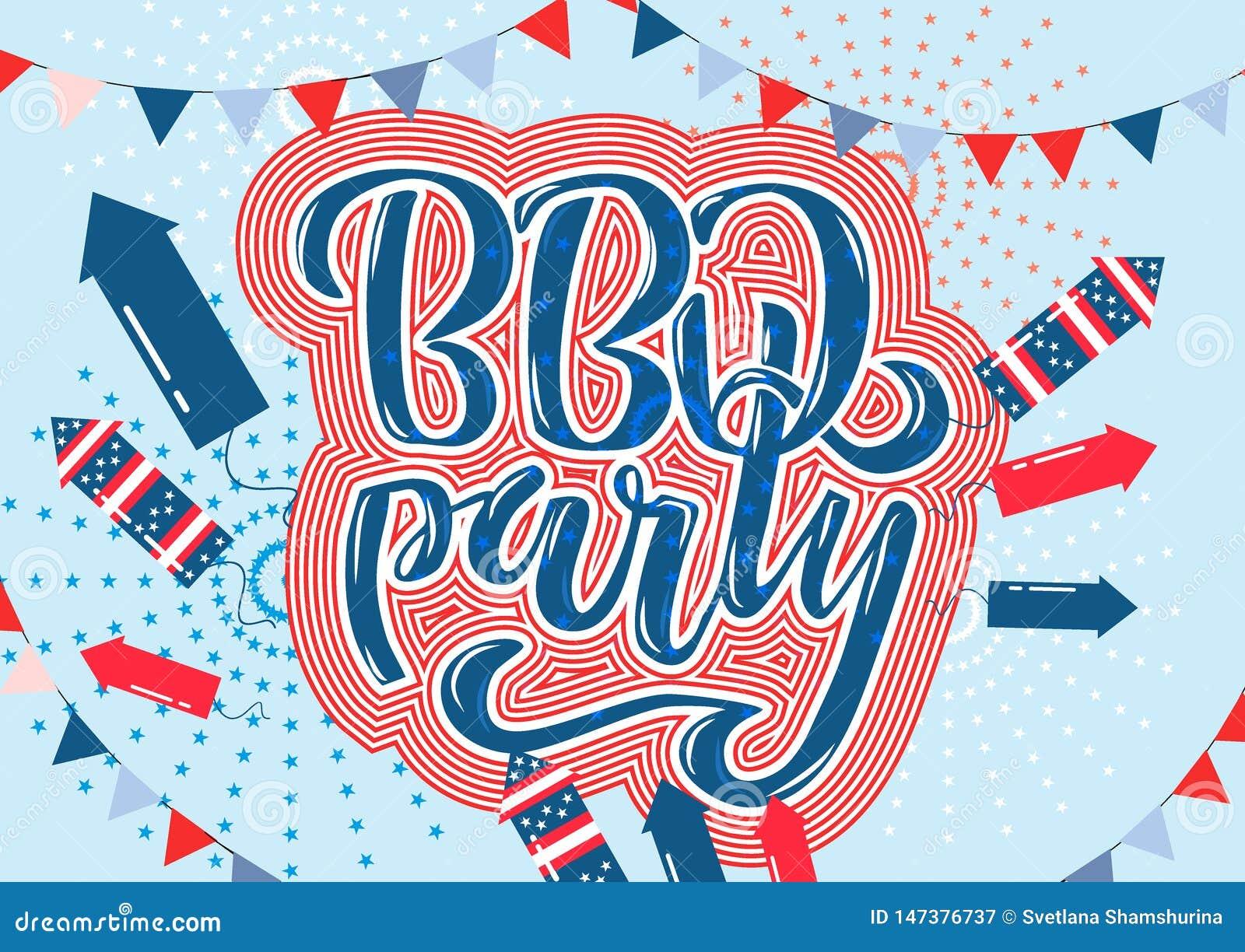 Lipa 4th BBQ literowania Partyjny zaproszenie Amerykański dnia niepodległości grill z Lipa 4th dekoracji gwiazdami, flagi, fajerw