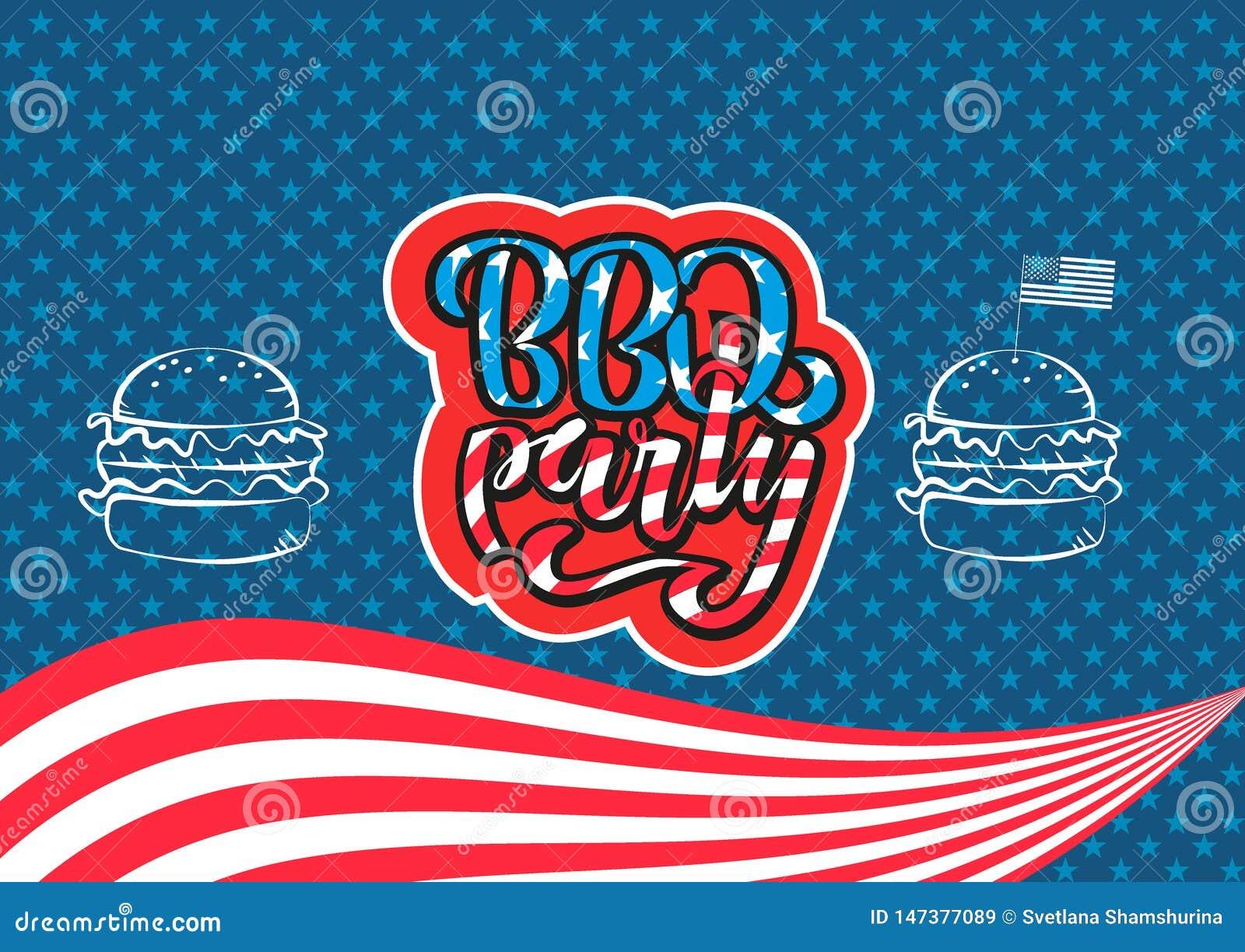 Lipa 4th BBQ literowania Partyjny zaproszenie Amerykański dnia niepodległości grill z Lipa 4th dekoracji gwiazdami, flagi, hambur