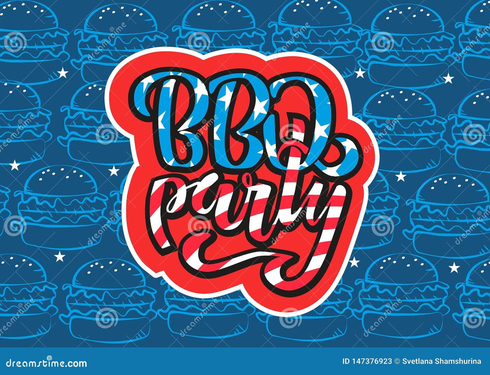 Lipa 4th BBQ literowania Partyjny zaproszenie Ameryka?ski dnia niepodleg?o?ci grill z Lipa 4th dekoracji gwiazdami, flagi, fajerw