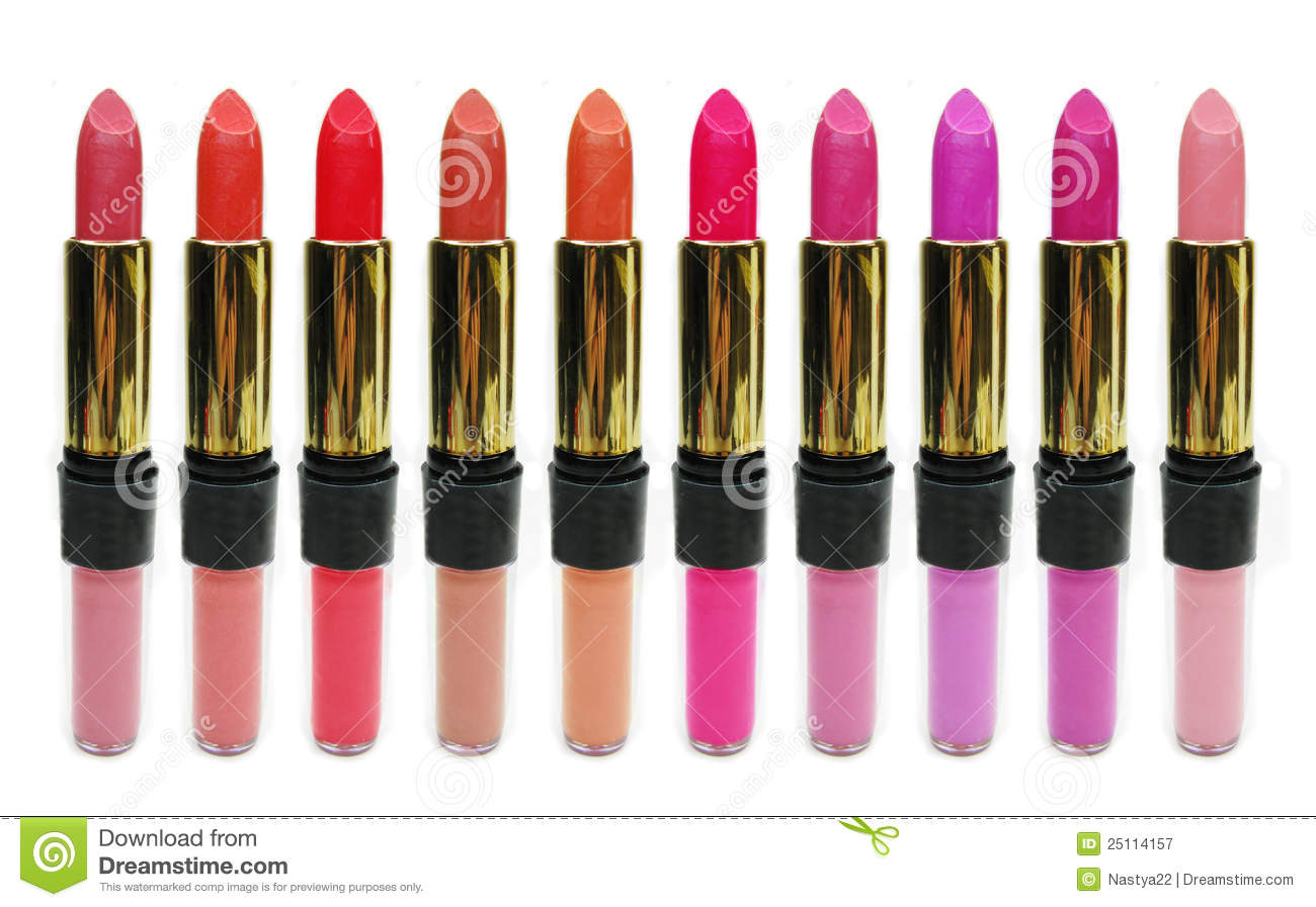 Lipgloss Lipstick Cosmetic Set For Makeup Royalty Free Stock Photography  Image: 25114157