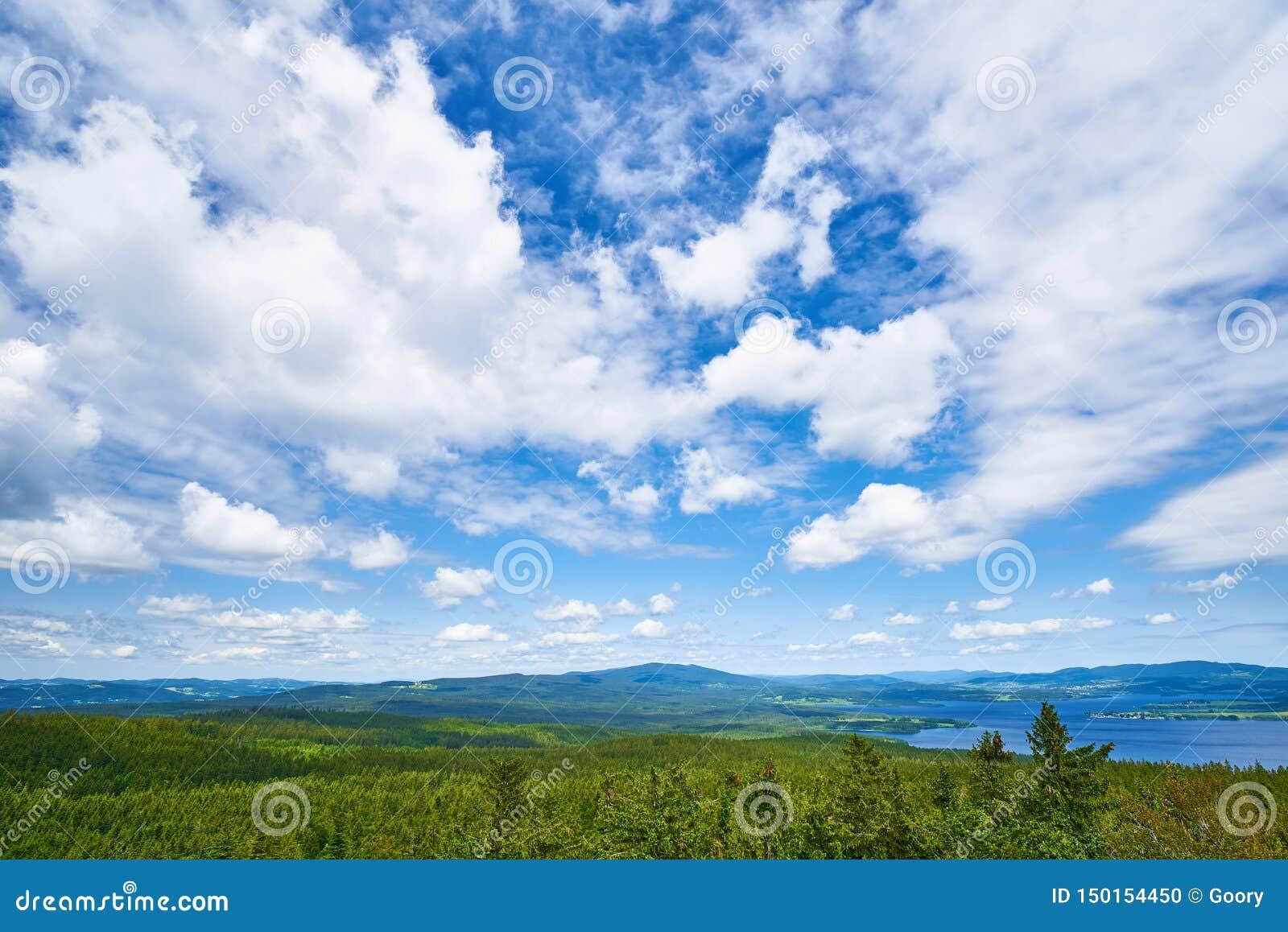 Lipno de sumava de montagne de forêt de ciel bleu