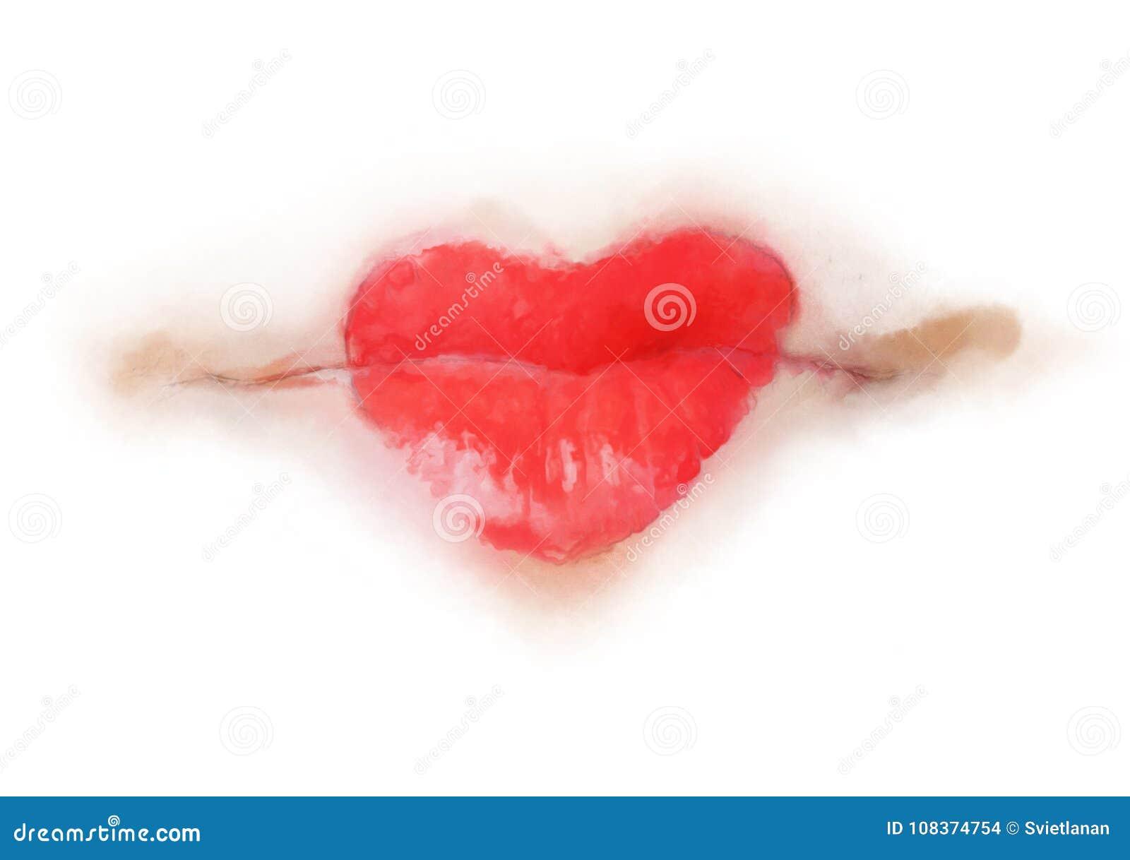 Lippen met de rode verf van de hartvorm
