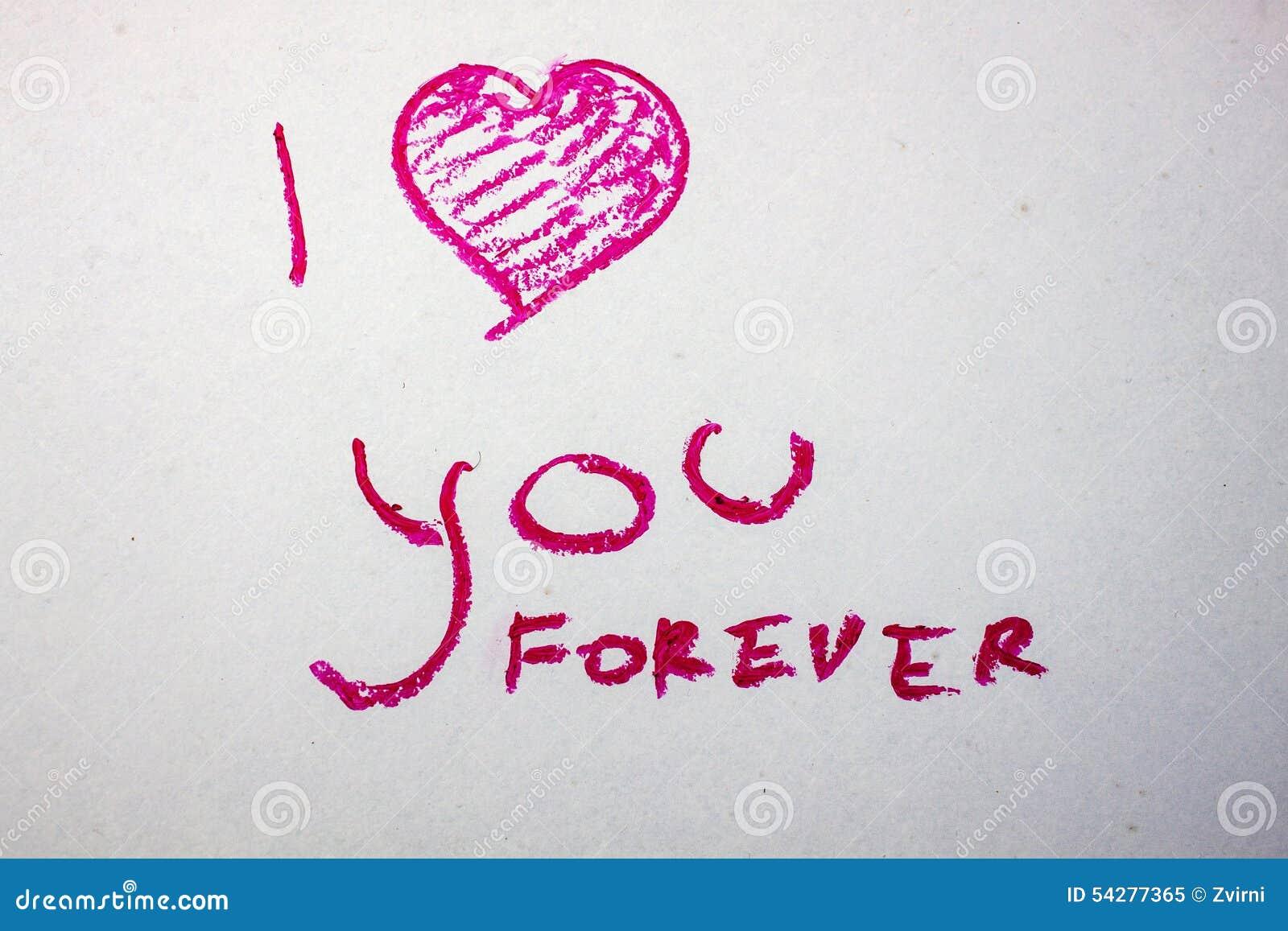 Lippenstift der Aufschrift ich liebe dich für immer