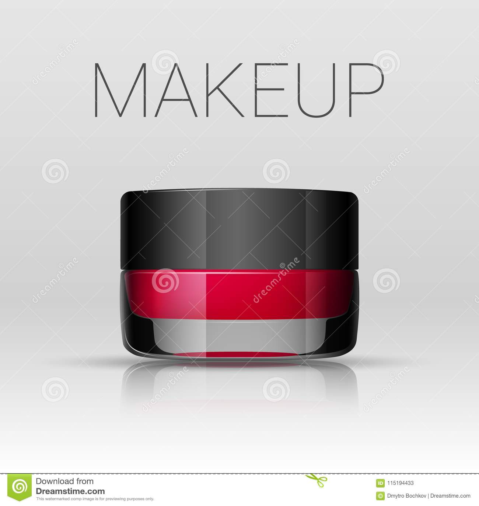 Lippenstift in een kruik Het product van de wenkbrauwenmake-up Vector