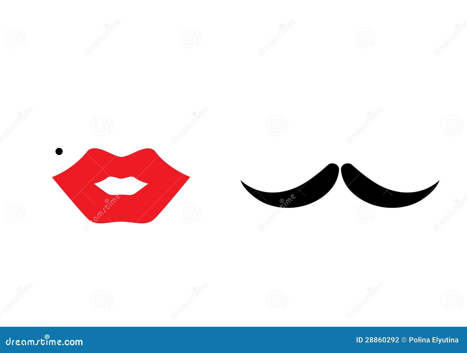 lips heart mustache stock vector illustration of beard 28860292