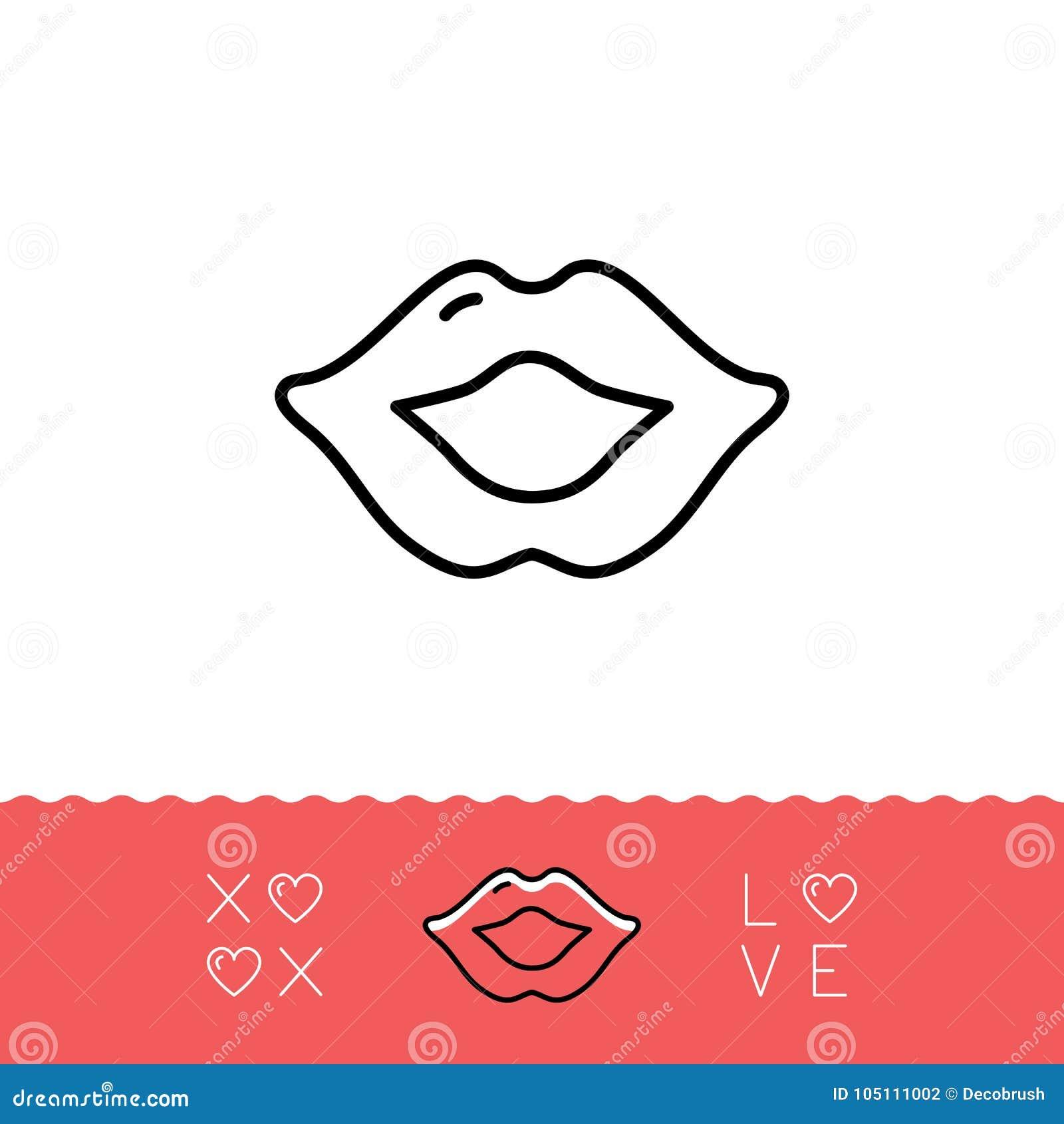 Lips Icon Xoxo Hugs And Kisses Valentines Symbol Love Sign