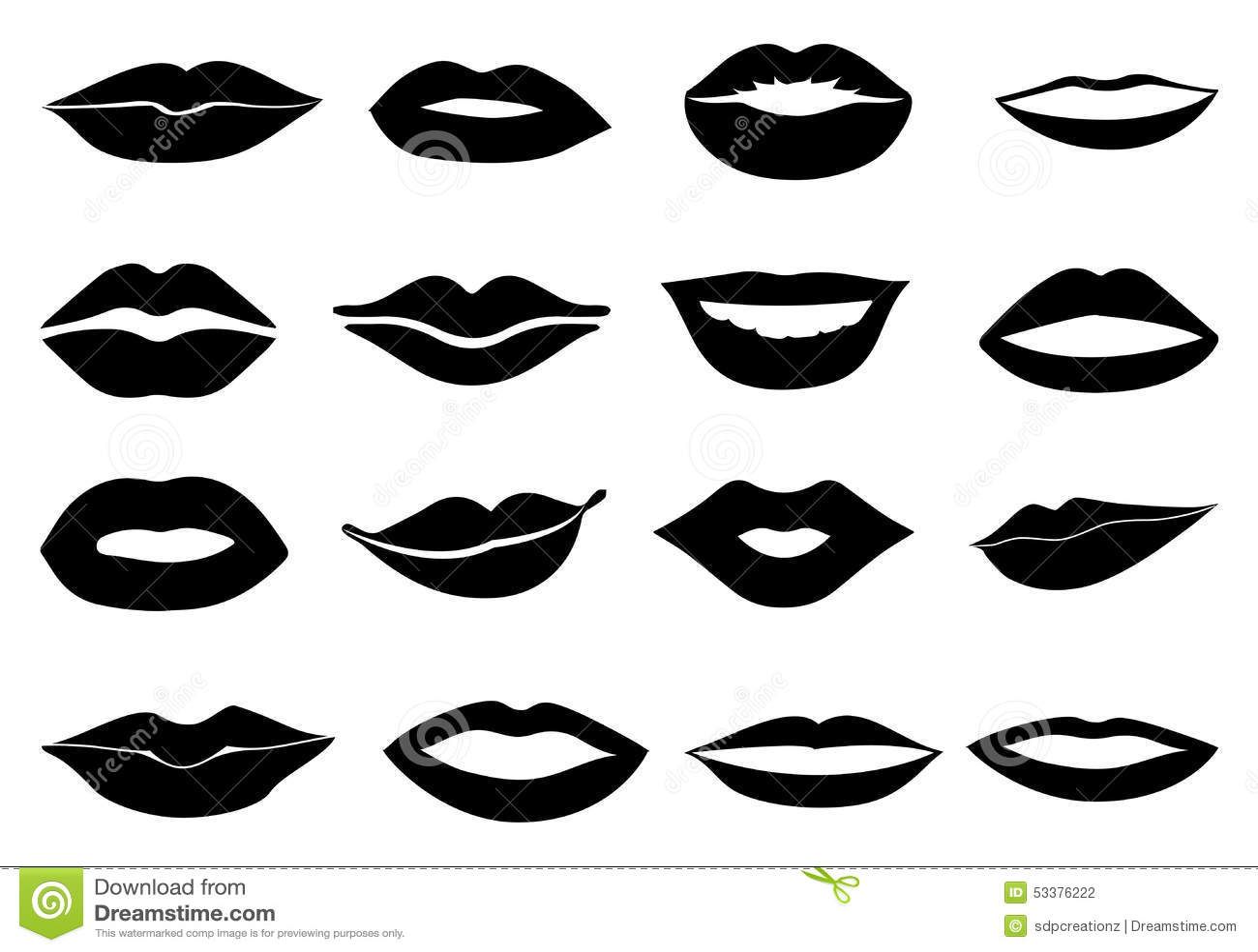 Lips Icons Set Stock Vector - Image: 53376222
