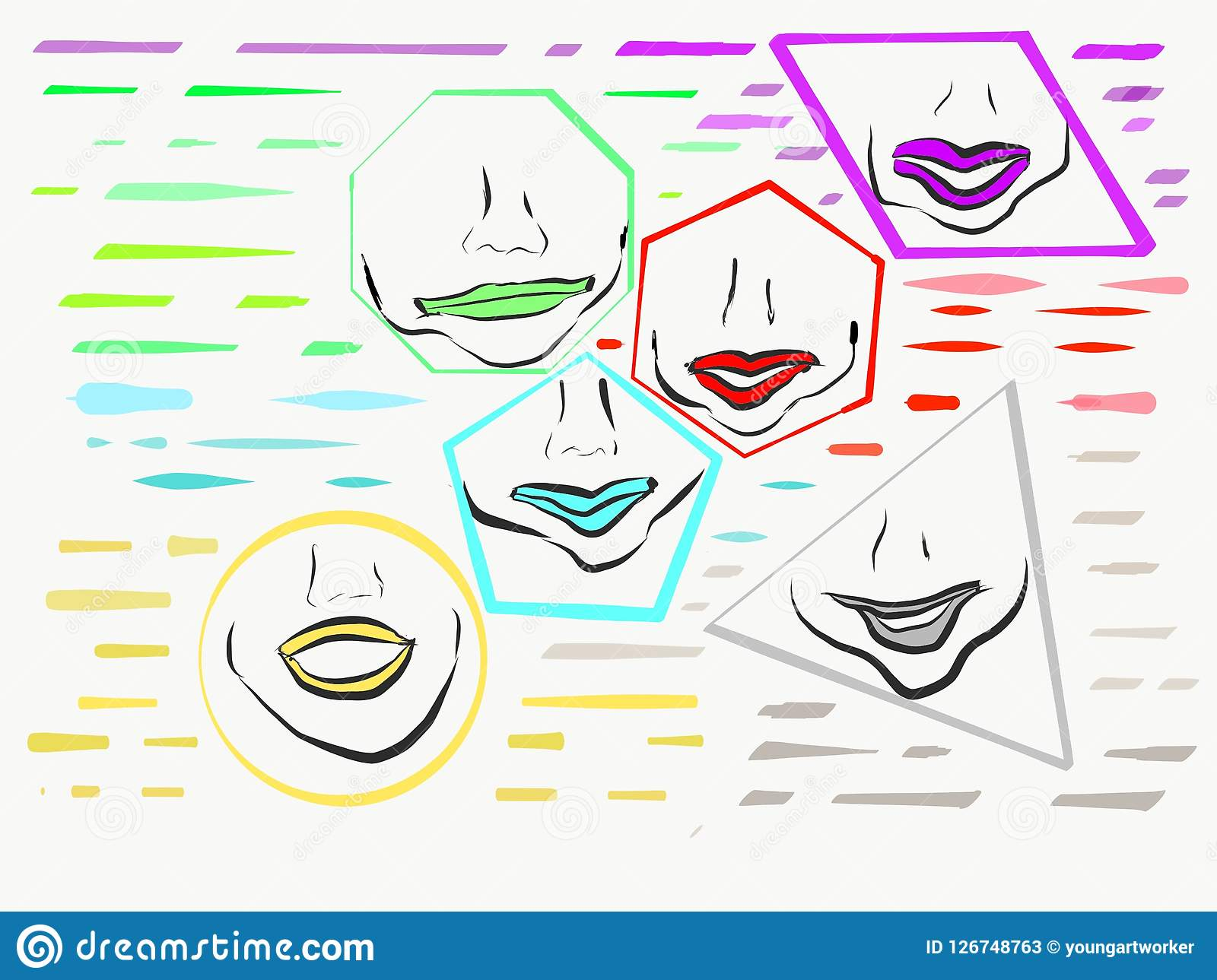 Lips Inside Shapes of Different Colors Circle Triangle Trapezoid Pentagon Hexagon Octagon Photo Art Illustration Abstract Child