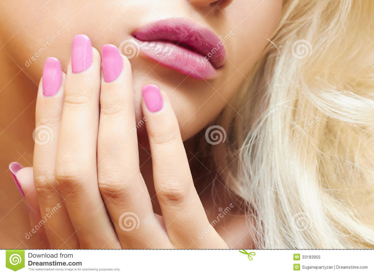 Lips,nails and hair of beautiful blond woman.