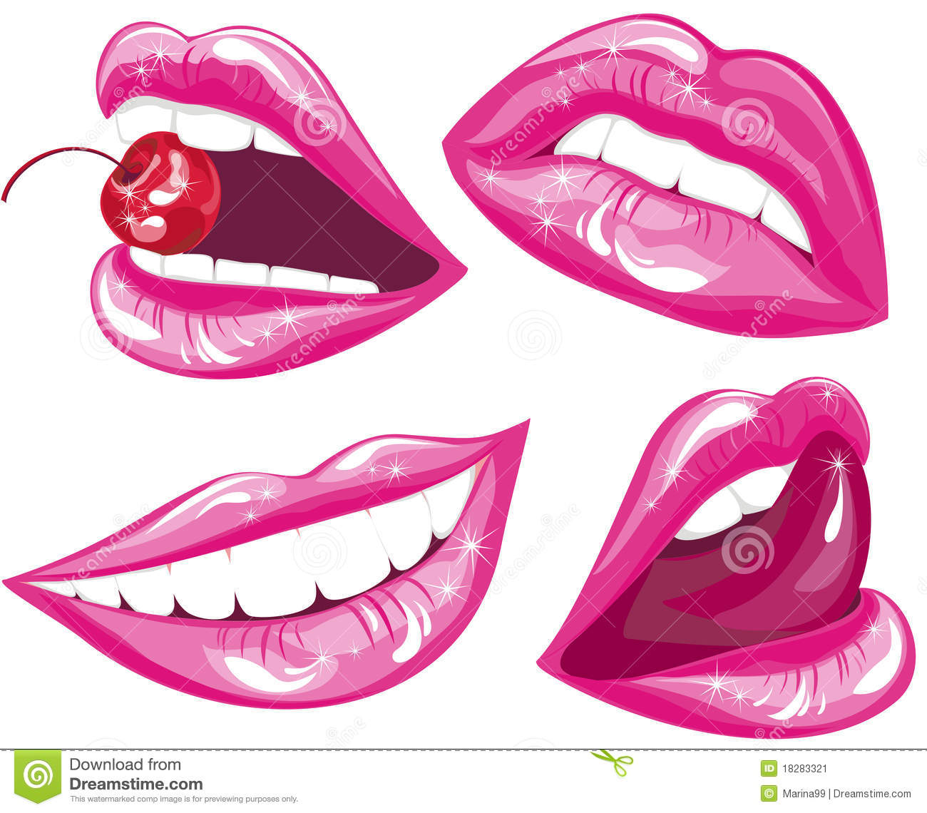 Lips Set. Vector Illustration Stock Image - Image: 18283321