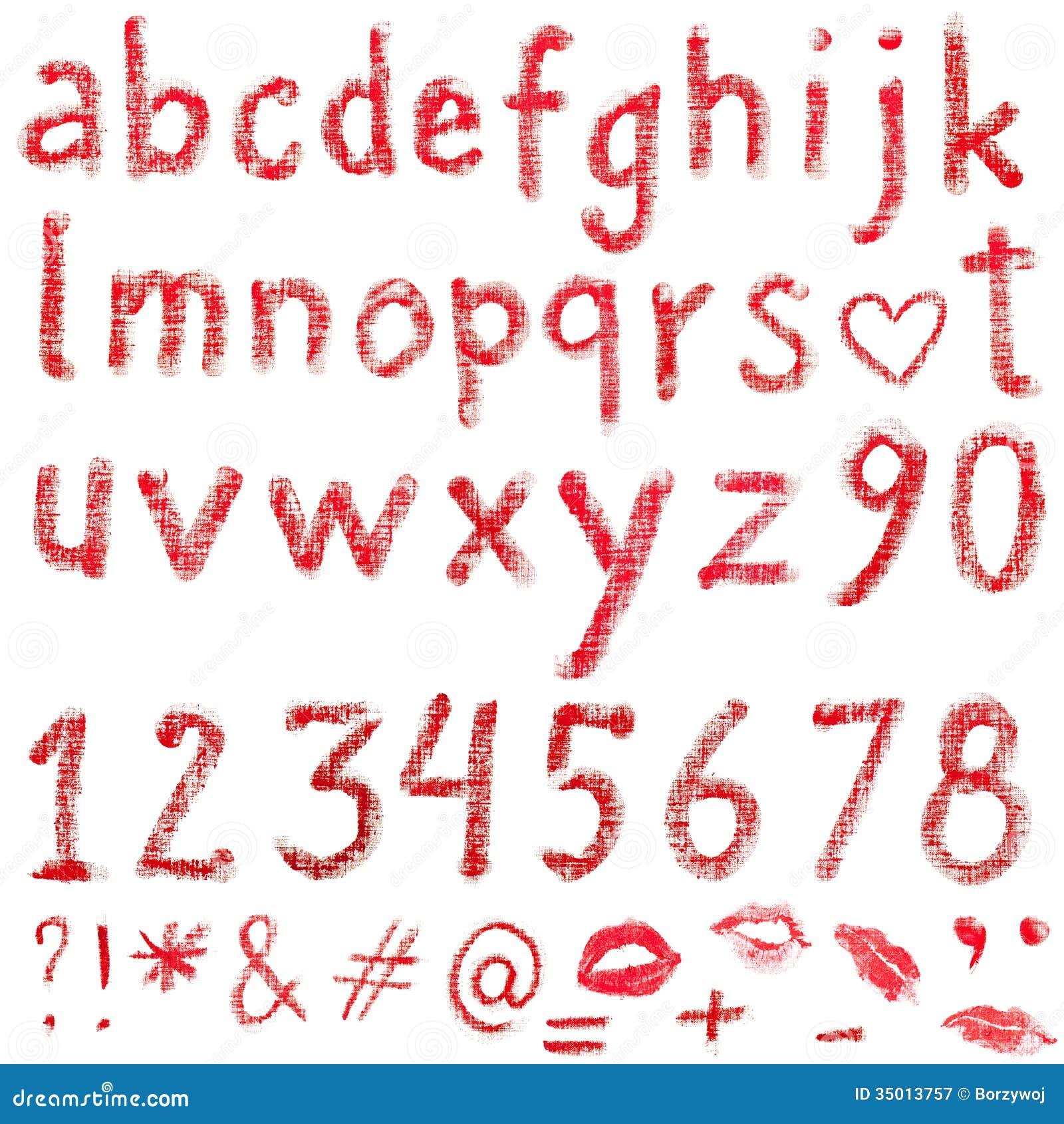 Lipstick alphabet stock image. Image of print, numbers - 35013757