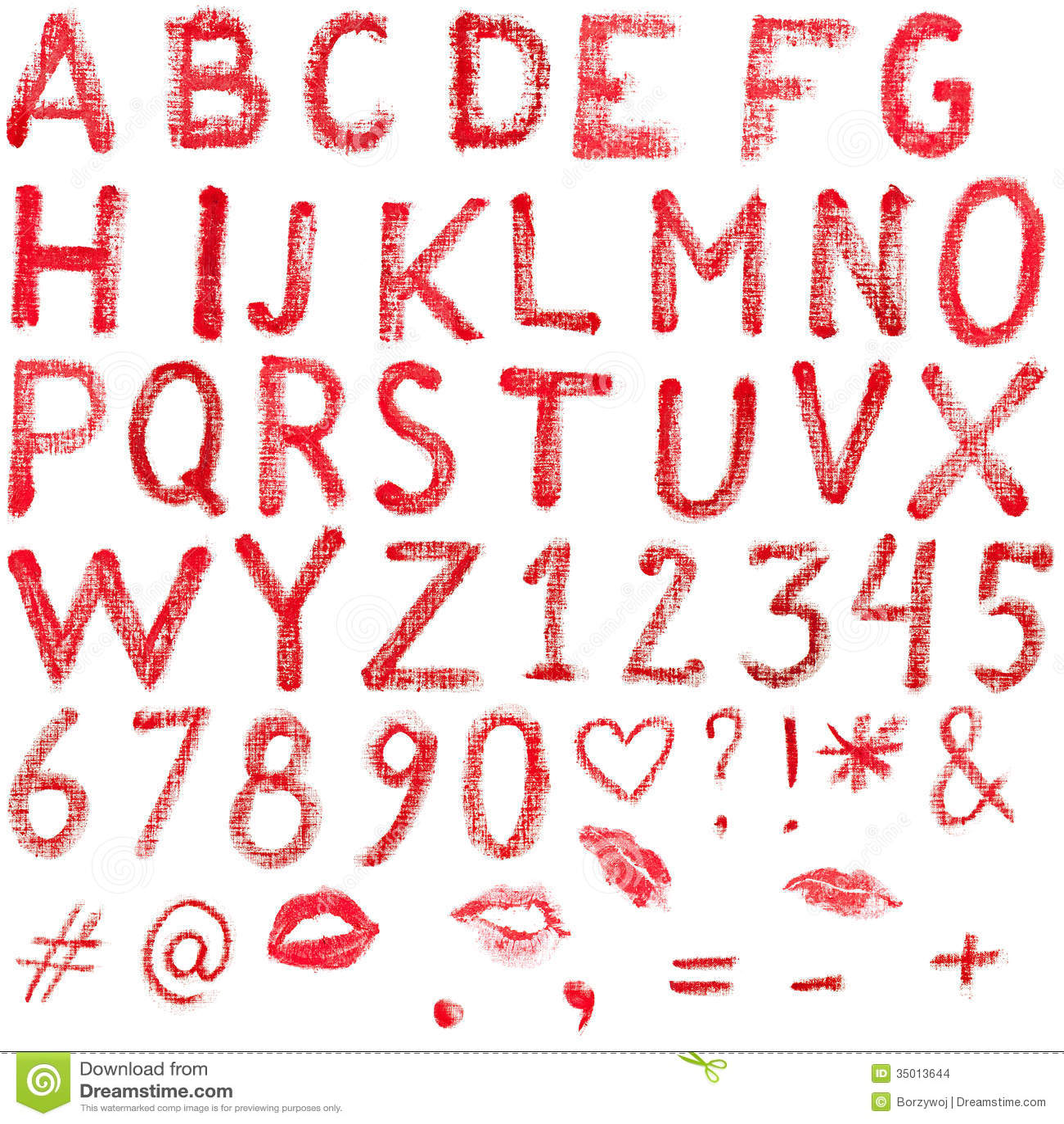 Lipstick Alphabet Stock Images