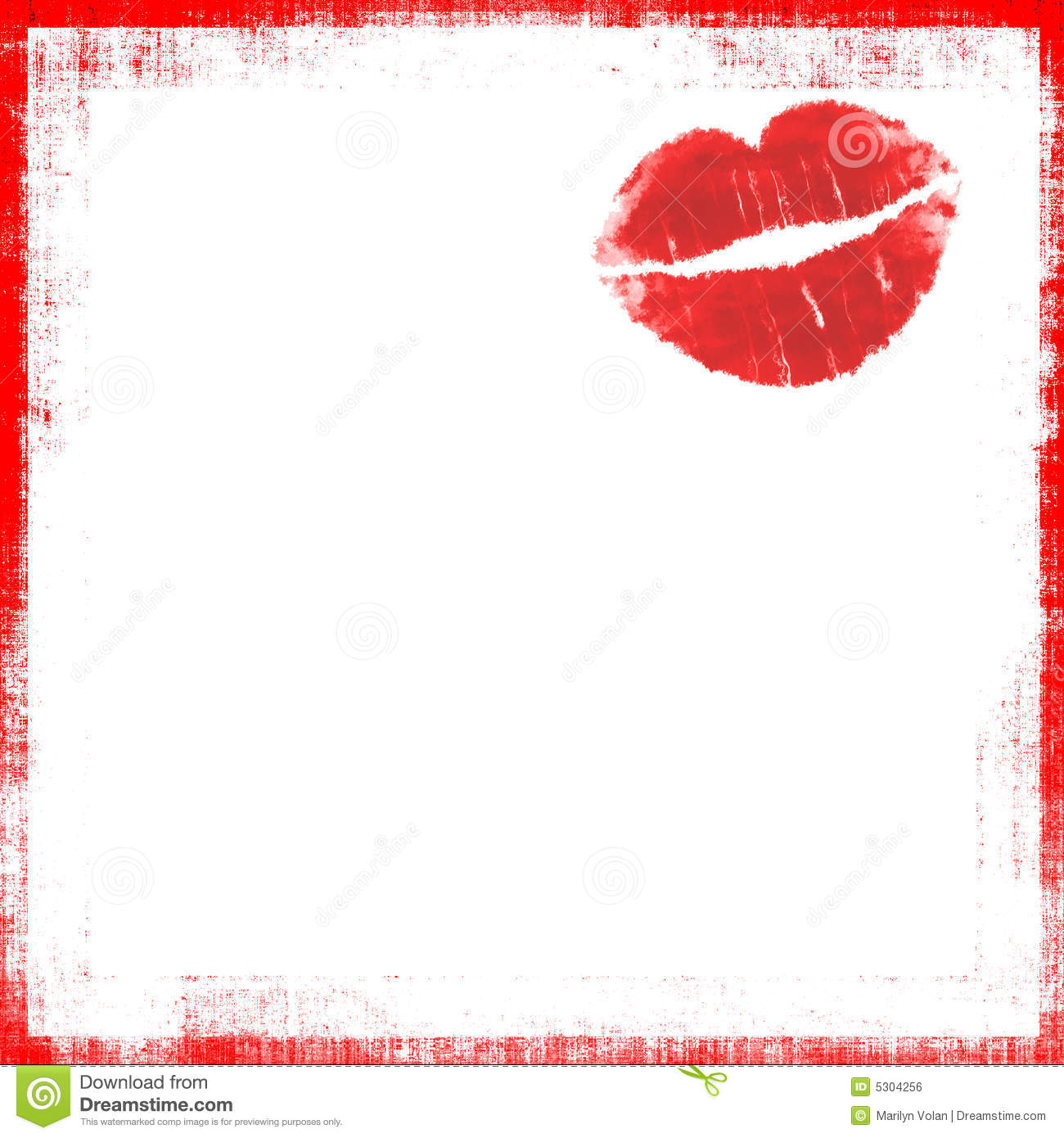 Red kissing lips drawing, isolated on white background page with red ...