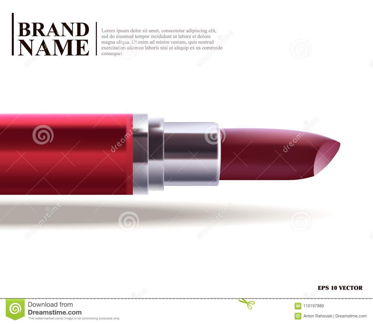 lipstick realistic illustration red lipstick makeup template for