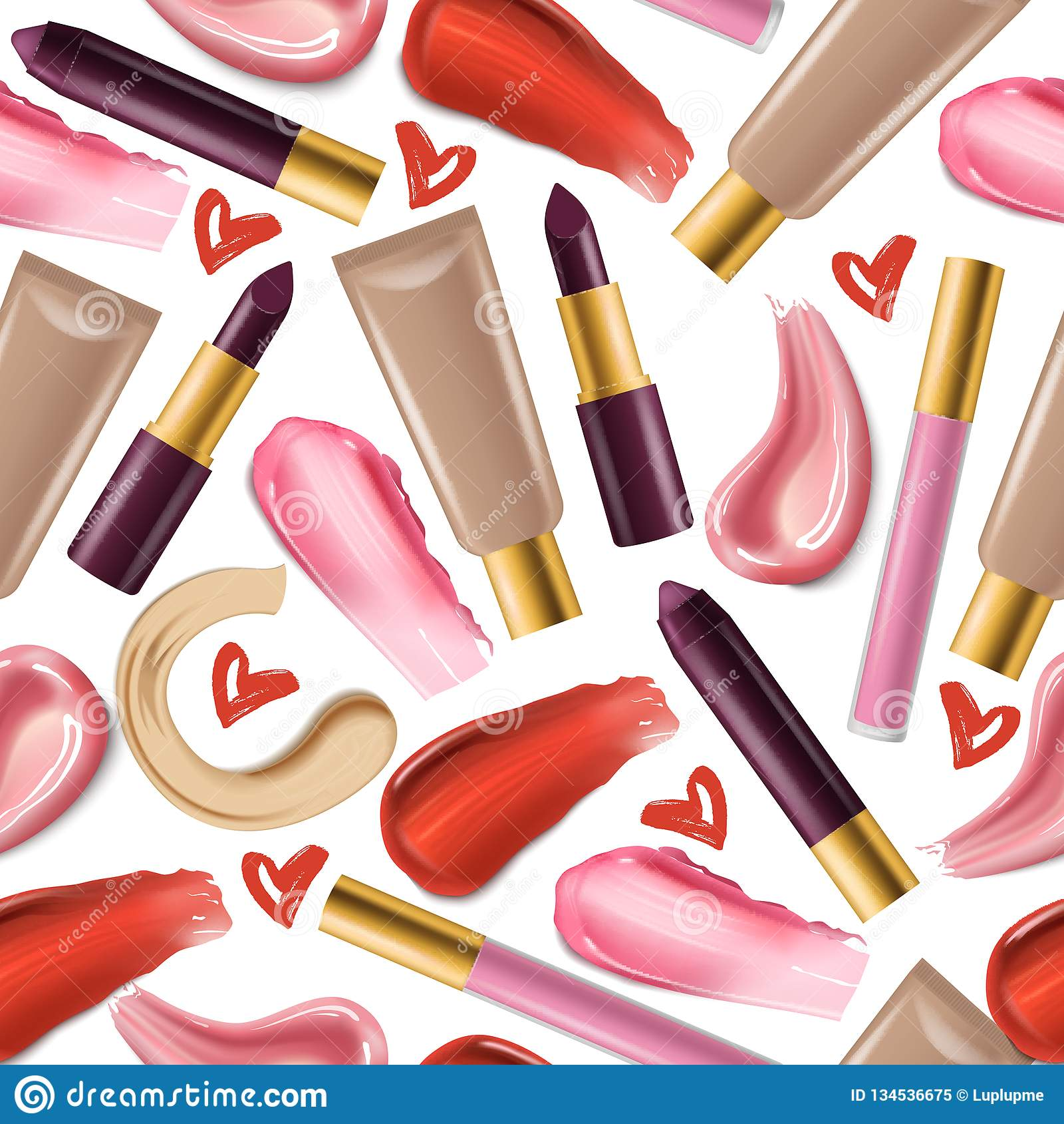 Lipstick Seamless Pattern Vector Beautiful Red Color ...
