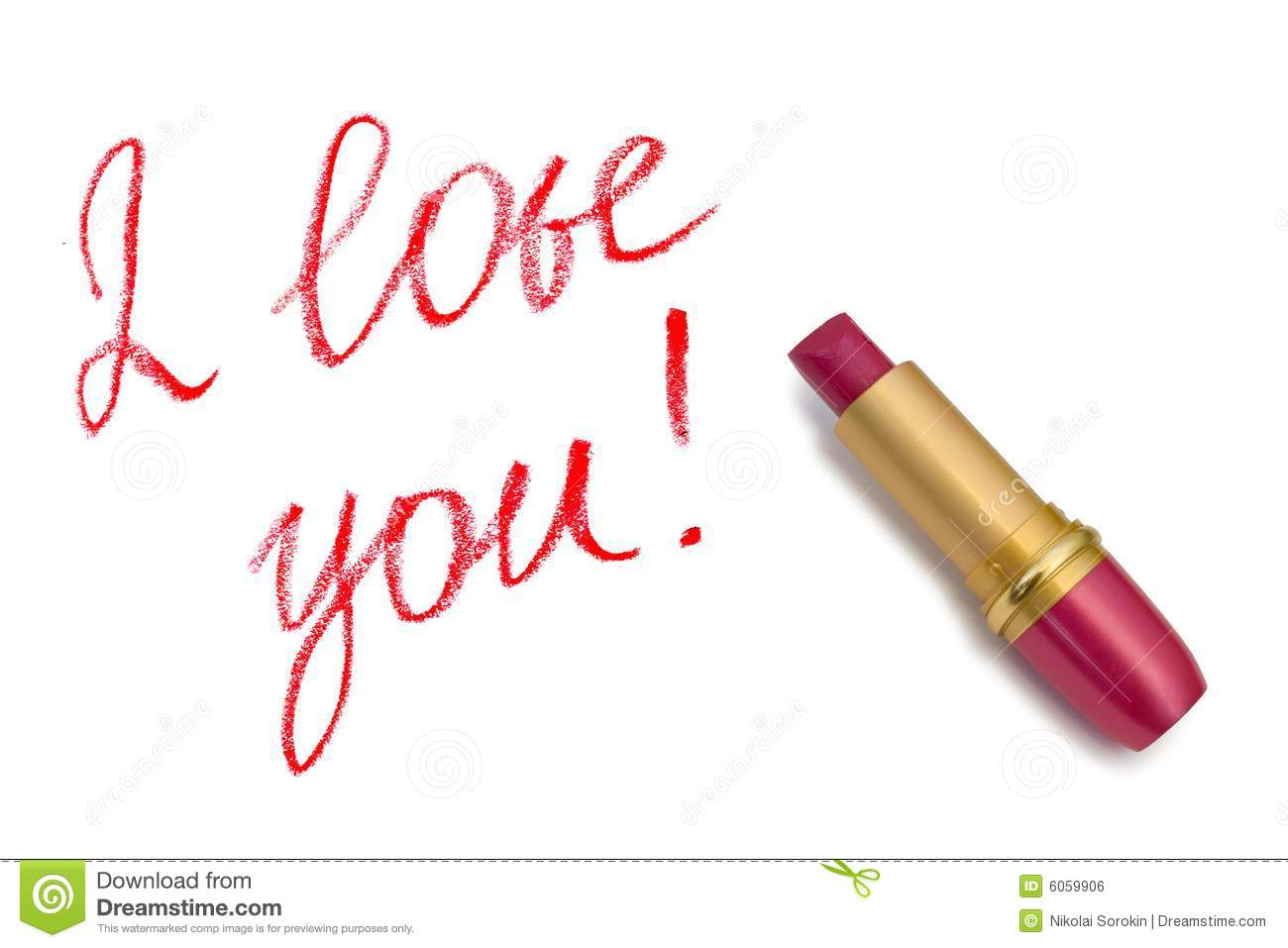Lipstick And Words I Love You Royalty Free Stock Image