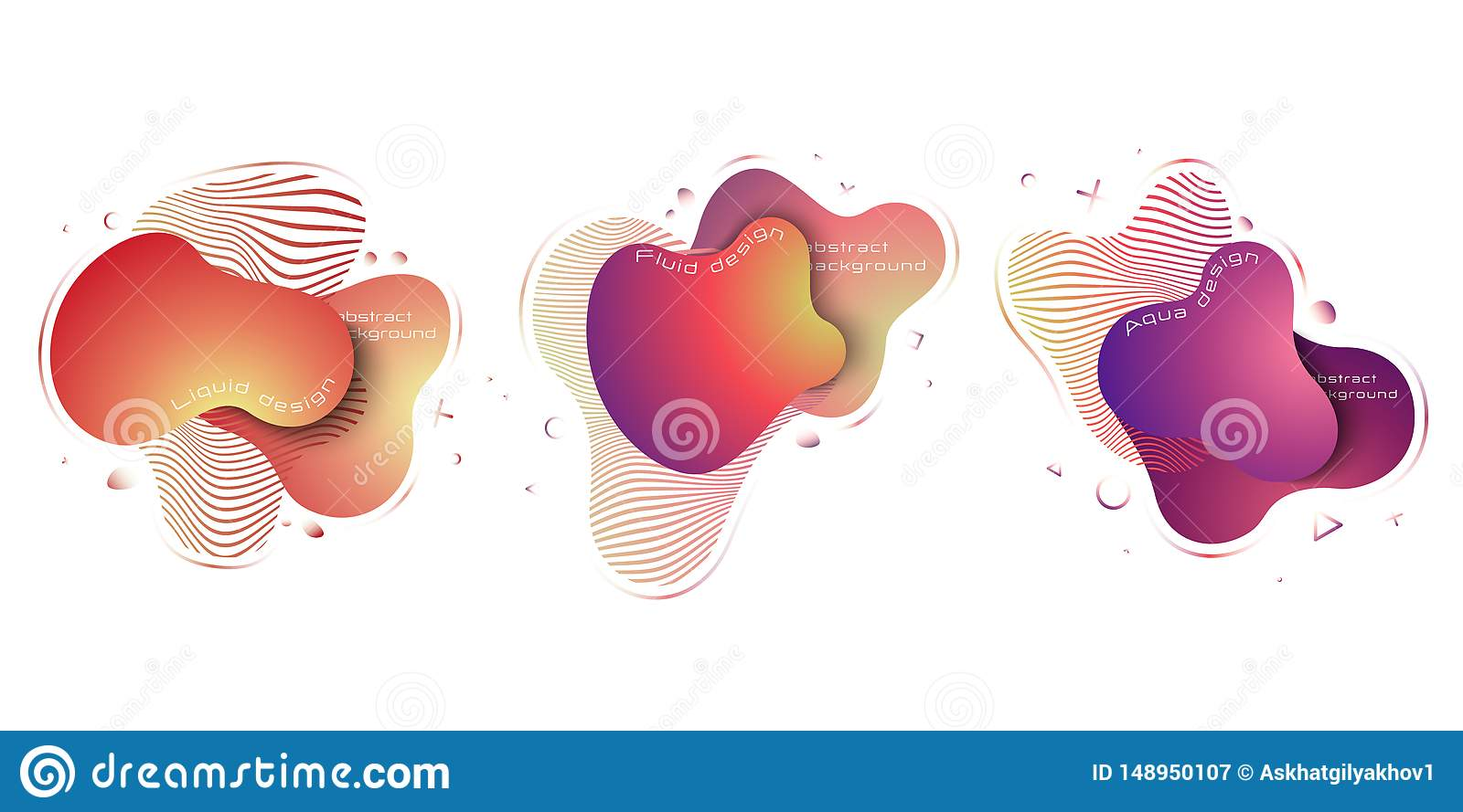 Liquid abstract elements set, modern trendy dynamical colored elements. Abstract background. EPS 10, vector