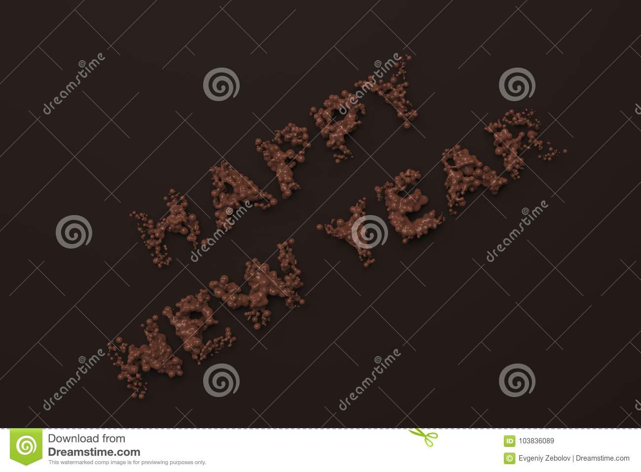 download liquid chocolate happy new year words with drops on chocolate ba stock illustration illustration
