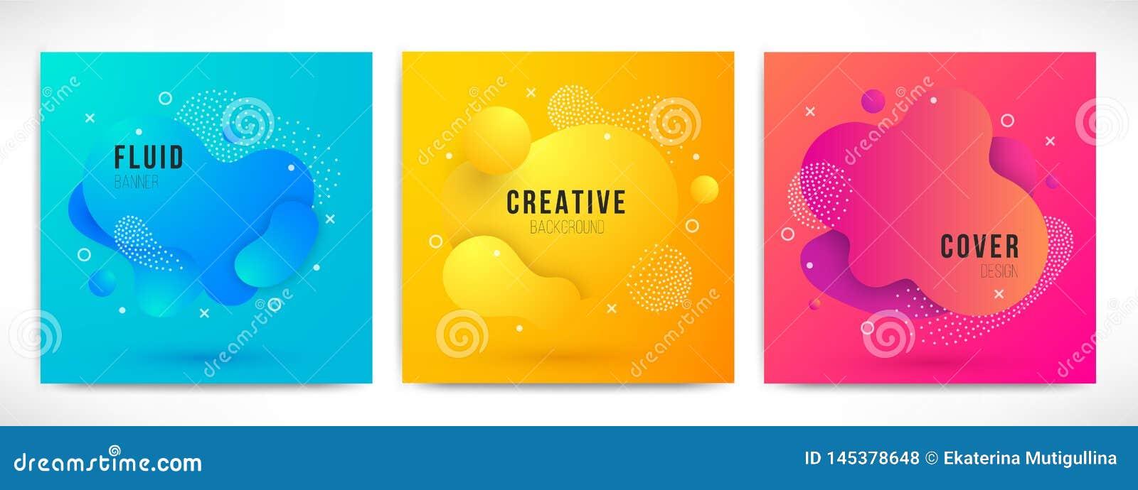 7edc1bce079bc Abstract modern liquid color Backgrounds set. Dynamic colorful design  elements. Fluid gradient geometric shapes for presentation, cover, logo,  flyer, web.