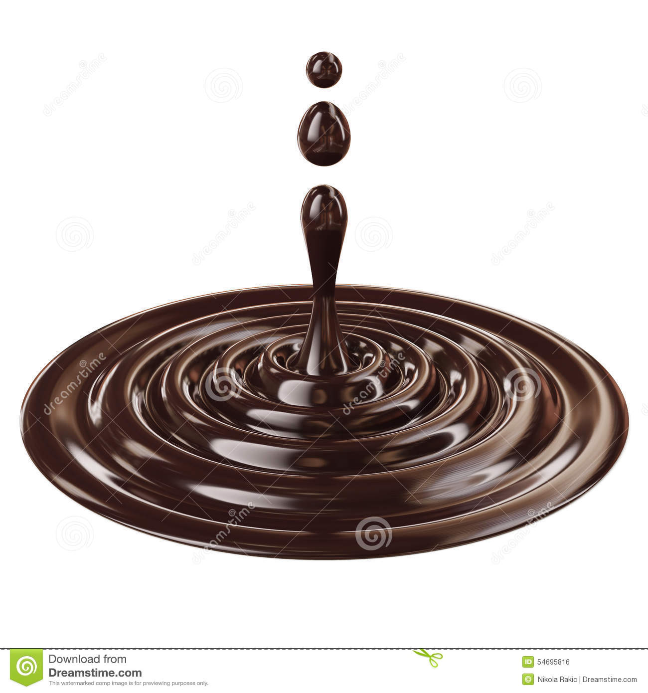 Liquid Drop, Black Chocolate Isolated On White Background Stock ...